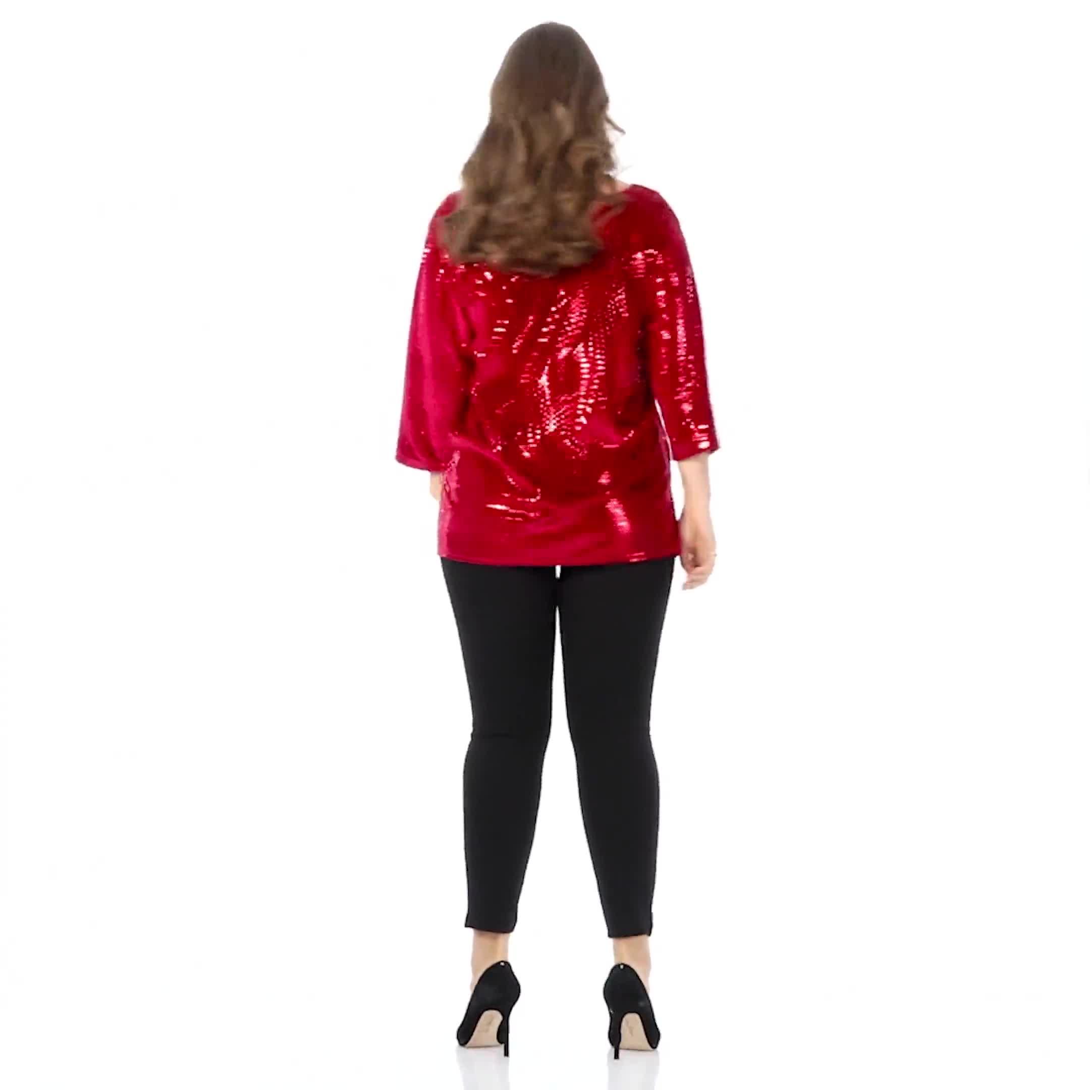 Roz & Ali Velvet Shimmer Dot Tunic Knit Top - Plus - Video