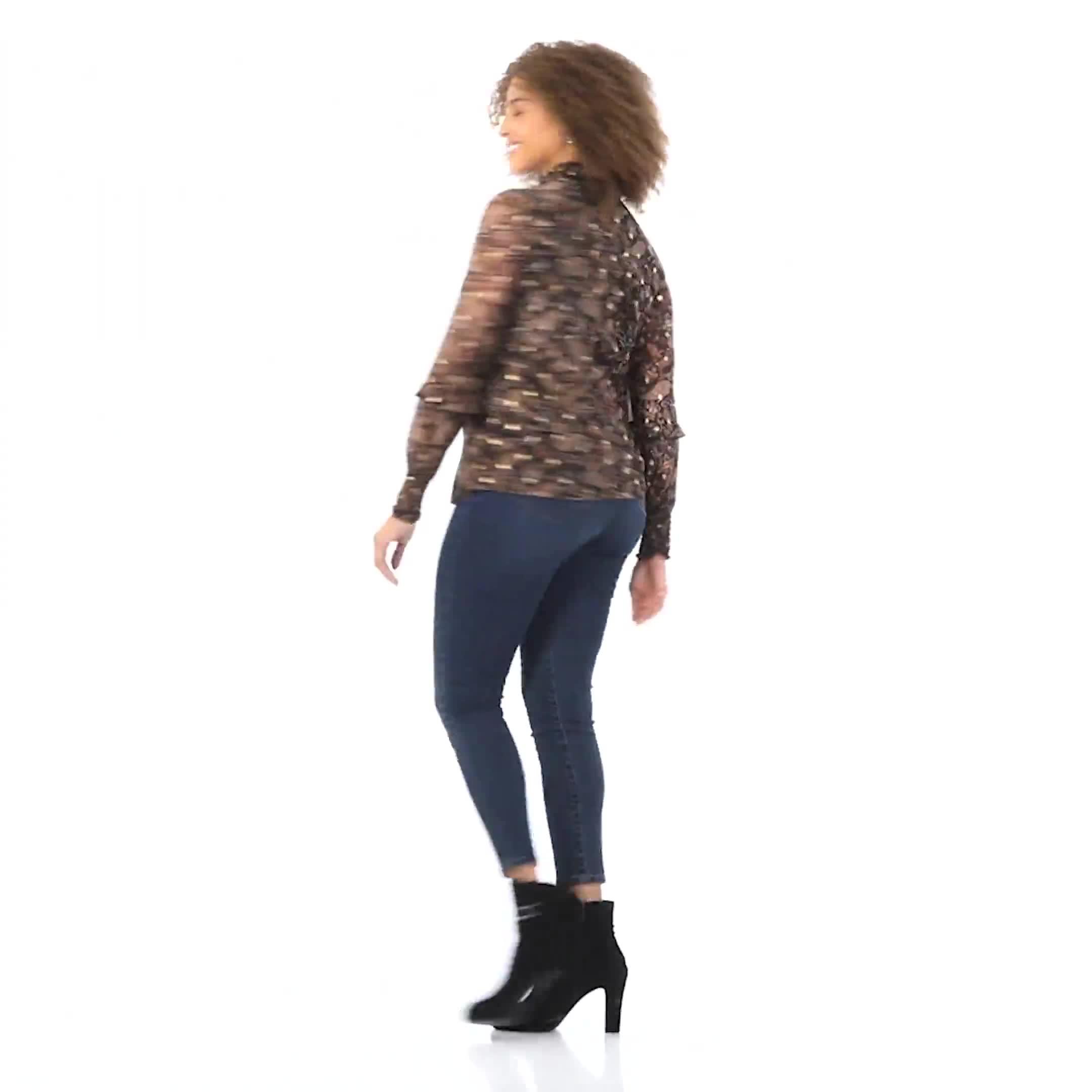 Roz & Ali Foil Paisley Smocked Neck Blouse - Video