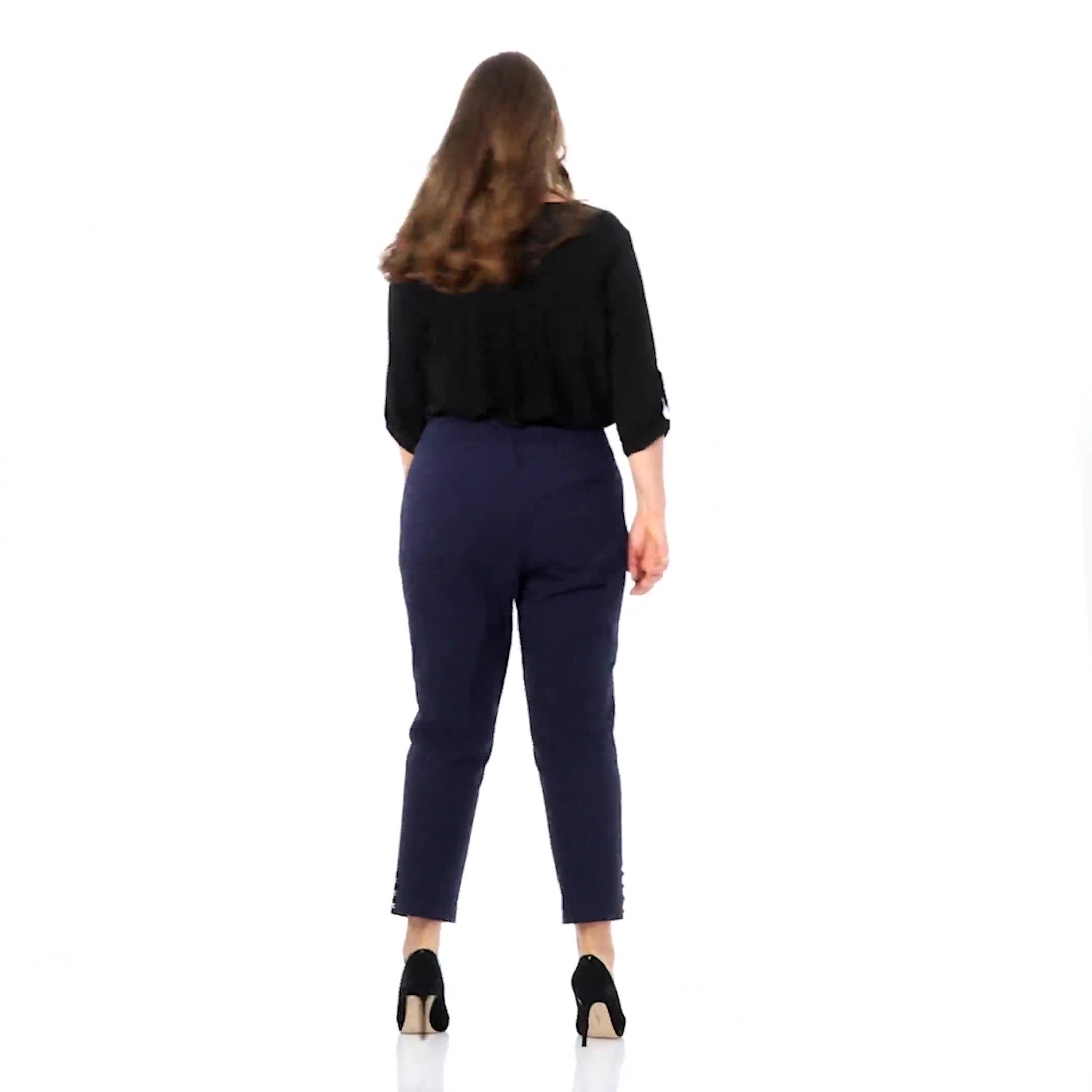 Plus Roz & Ali Tummy Control Pull On Ankle Pant with Gold Barrel Trim - Plus - Video
