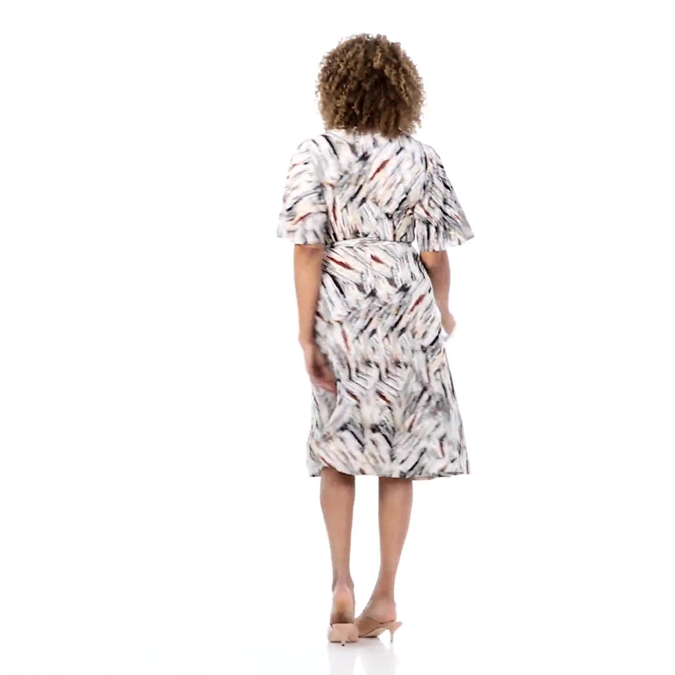 Wrap Brush Stroke Midi Dress - Video