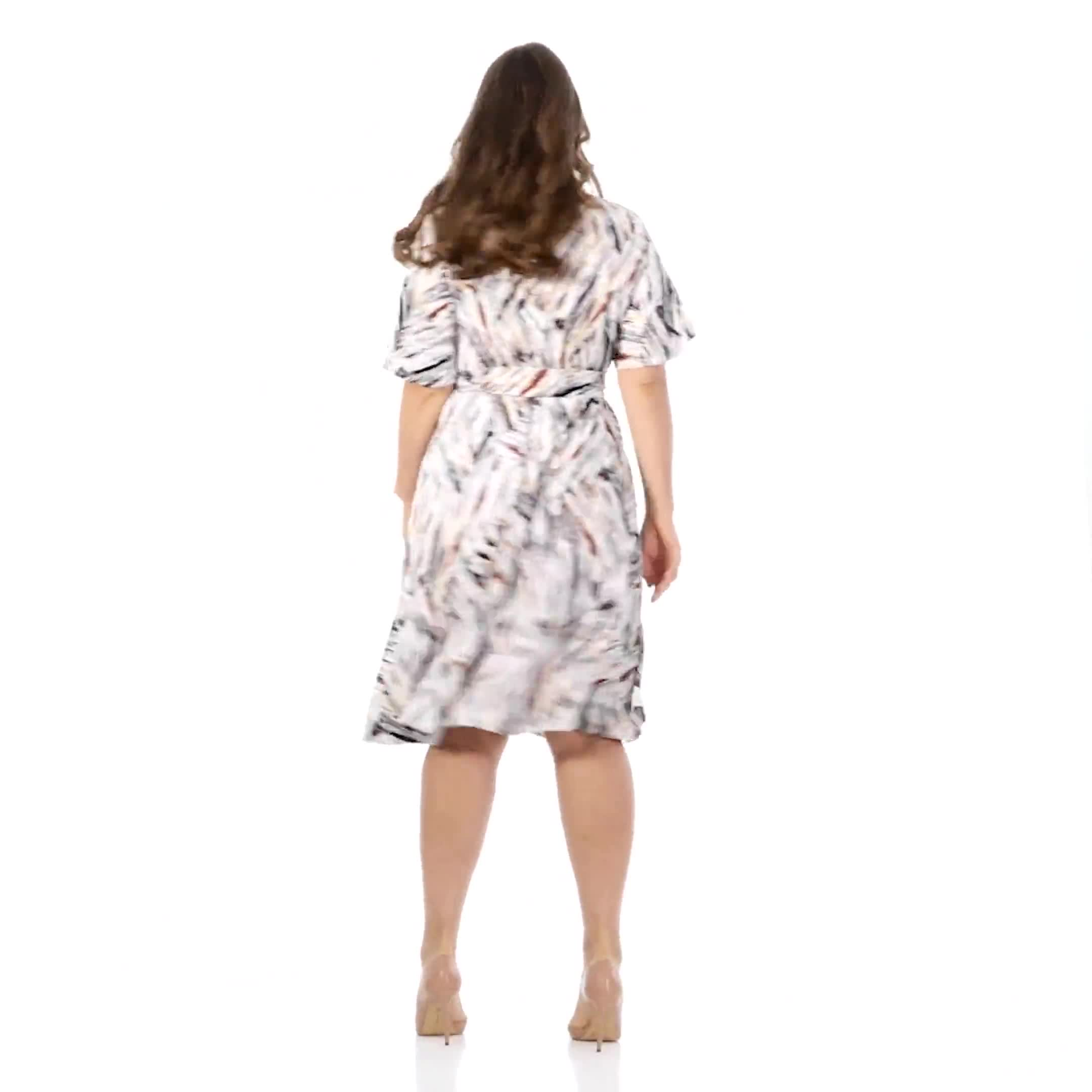 Wrap Brush Stroke Midi Dress - Plus - Video
