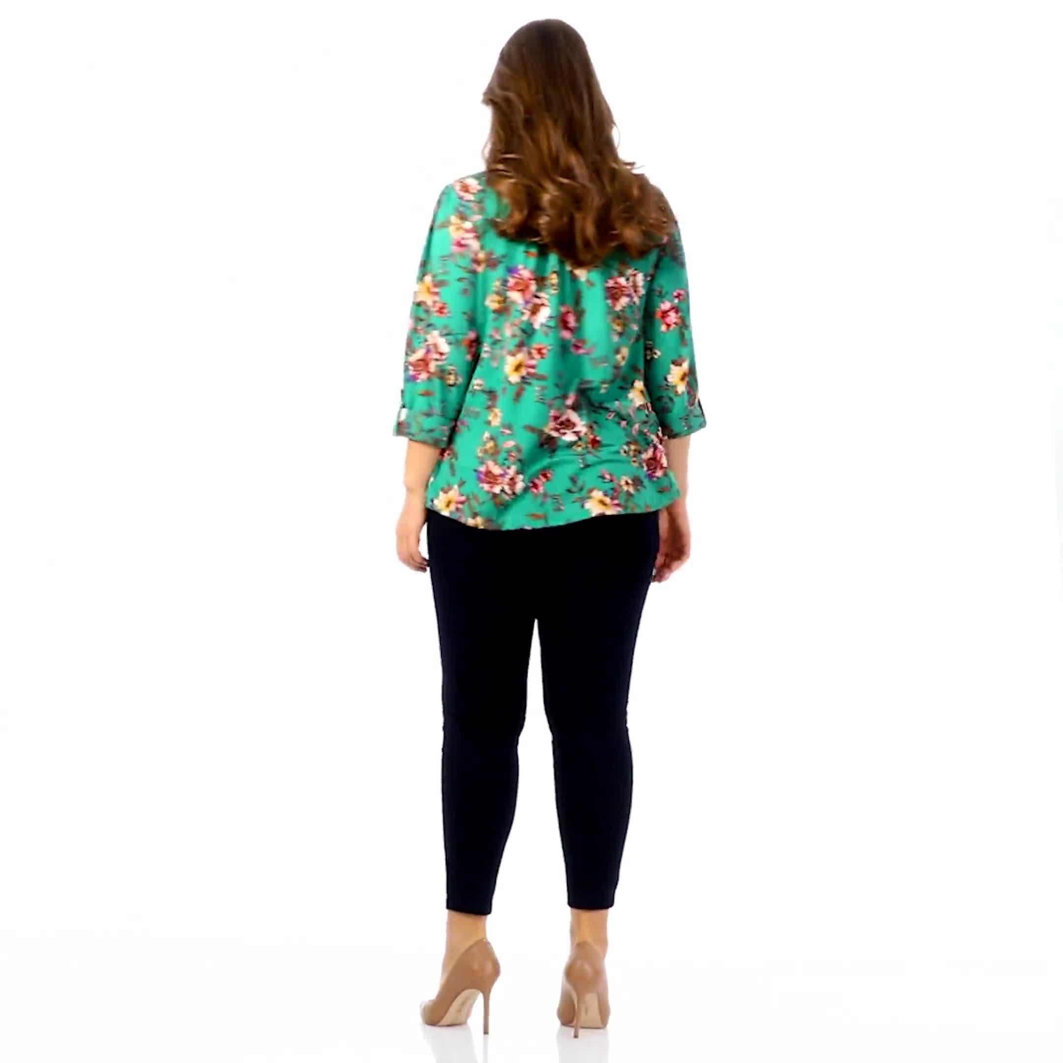 Roz & Ali Multi Color Floral Popover - Plus - Video