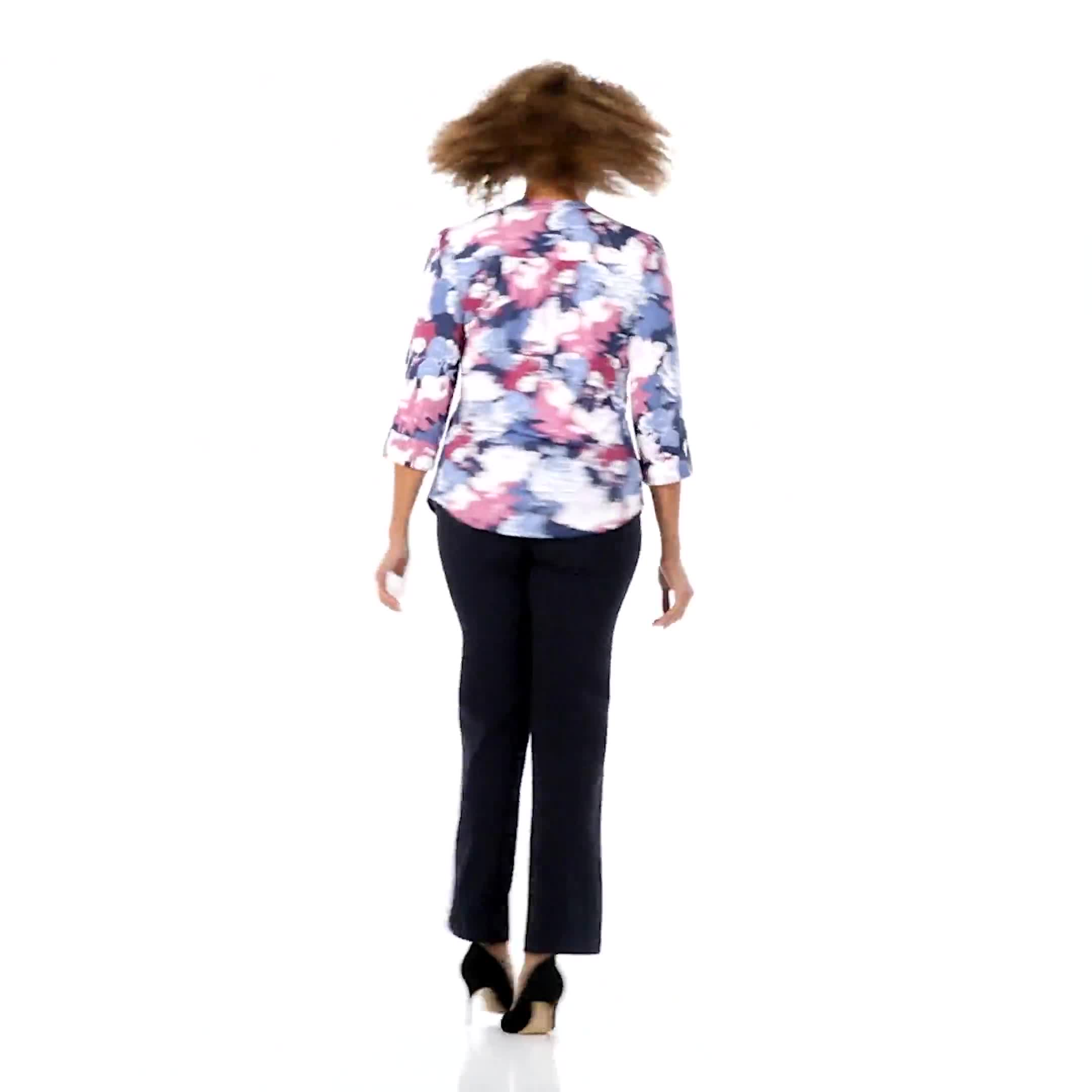 Denim Floral Pintuck Popover - Misses - Video