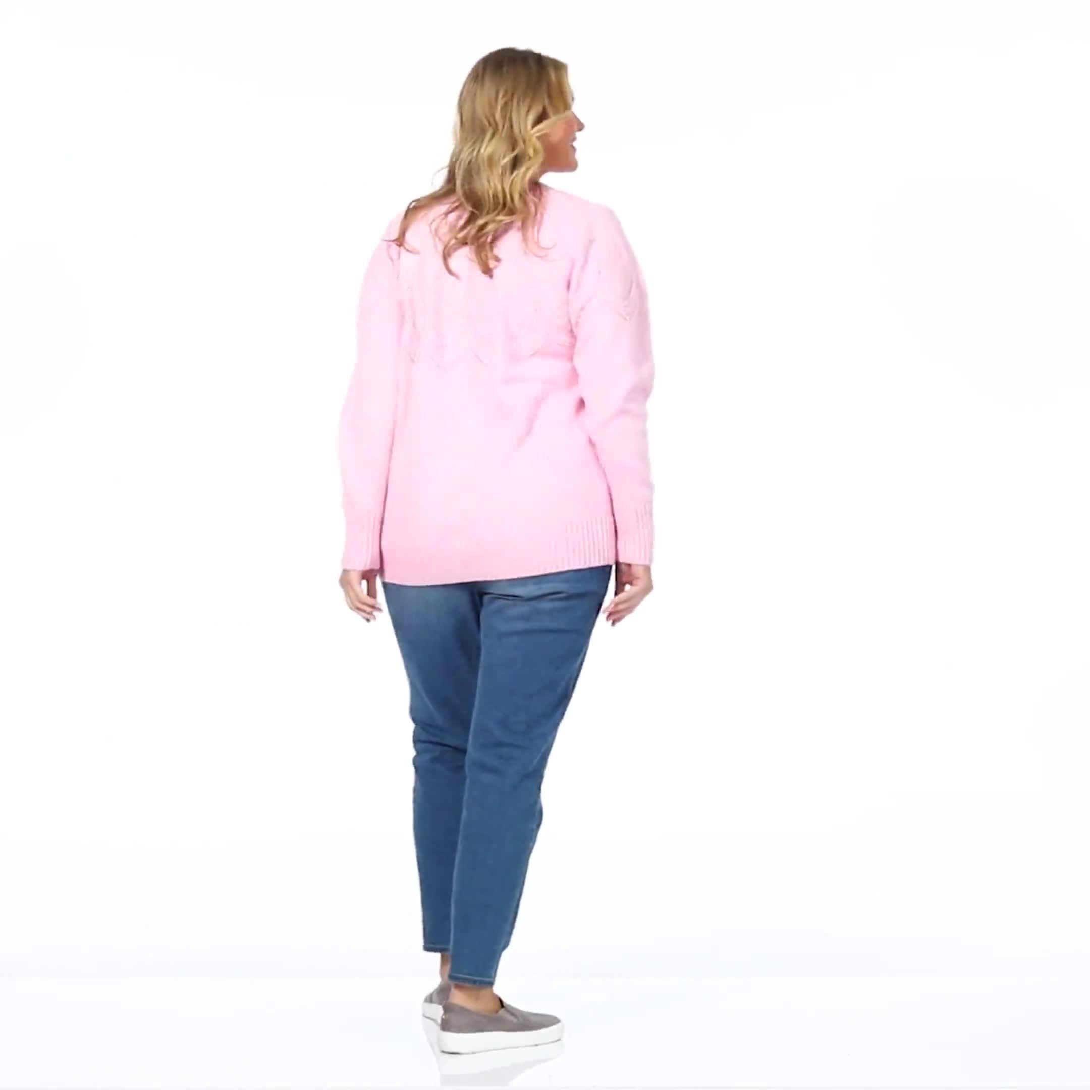 Roz & Ali Pointelle Pullover Sweater - Plus - Video