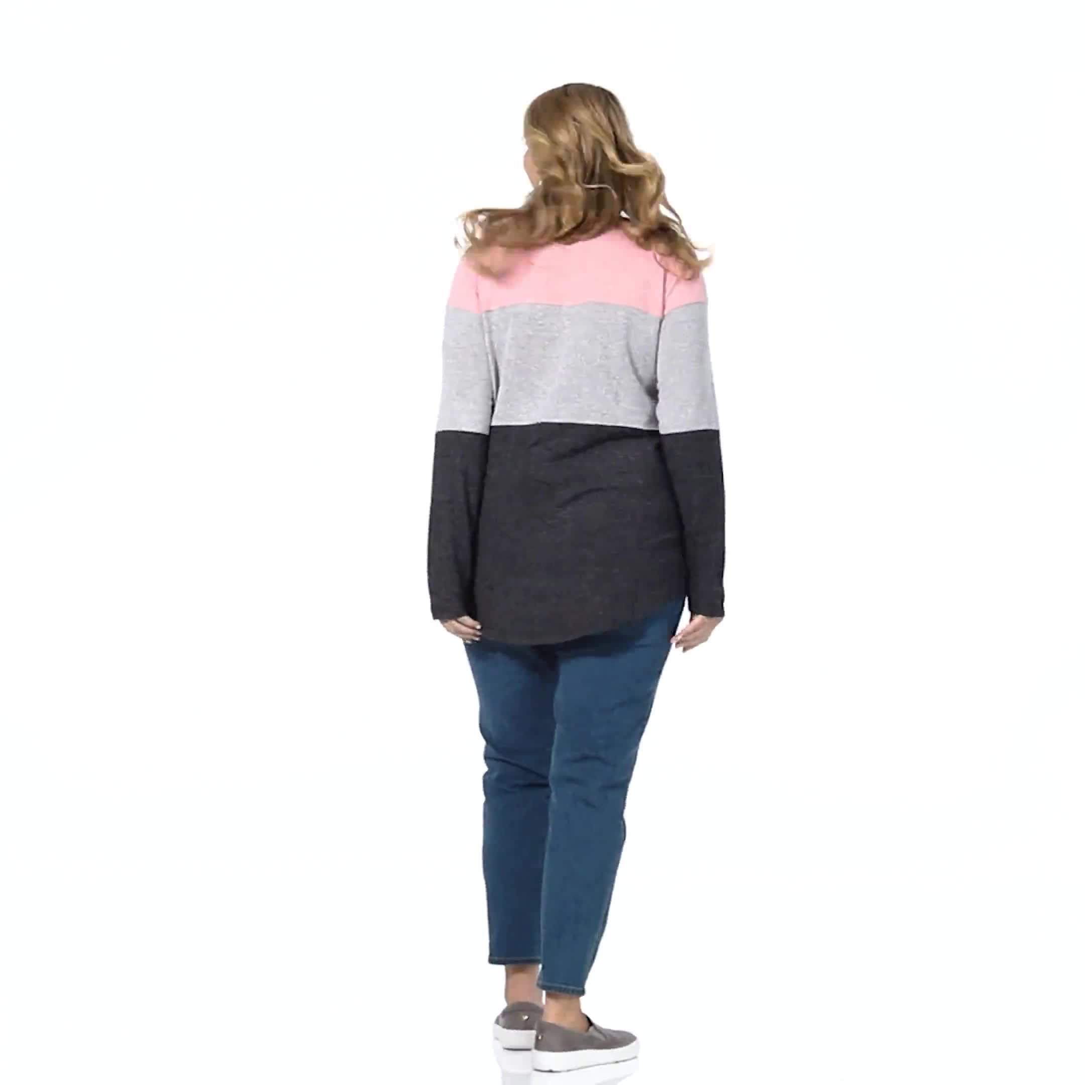 Westport Sweater Knit Color Block Top - Plus - Video
