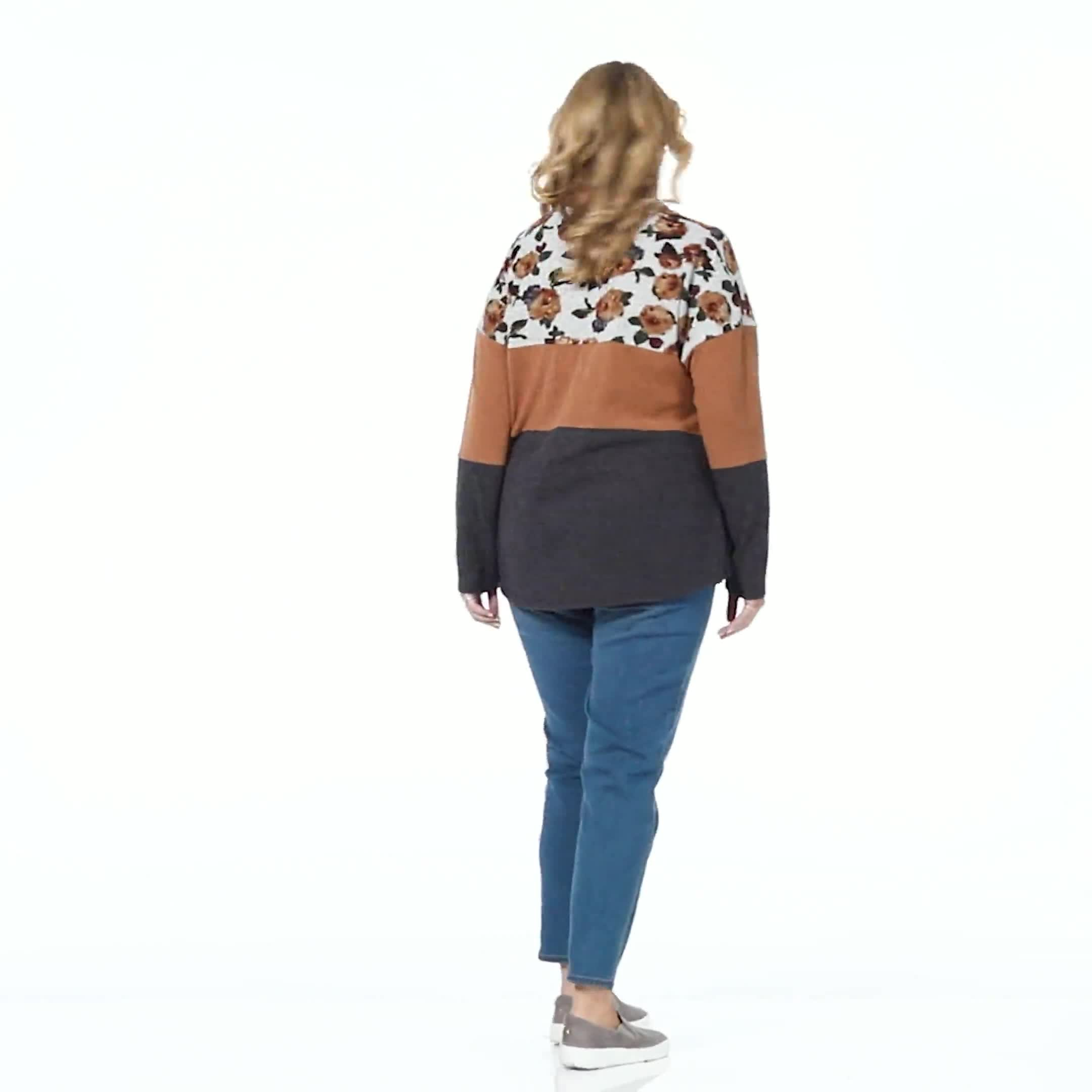 Westport Floral Hacci Sweater Knit Top - Plus - Video