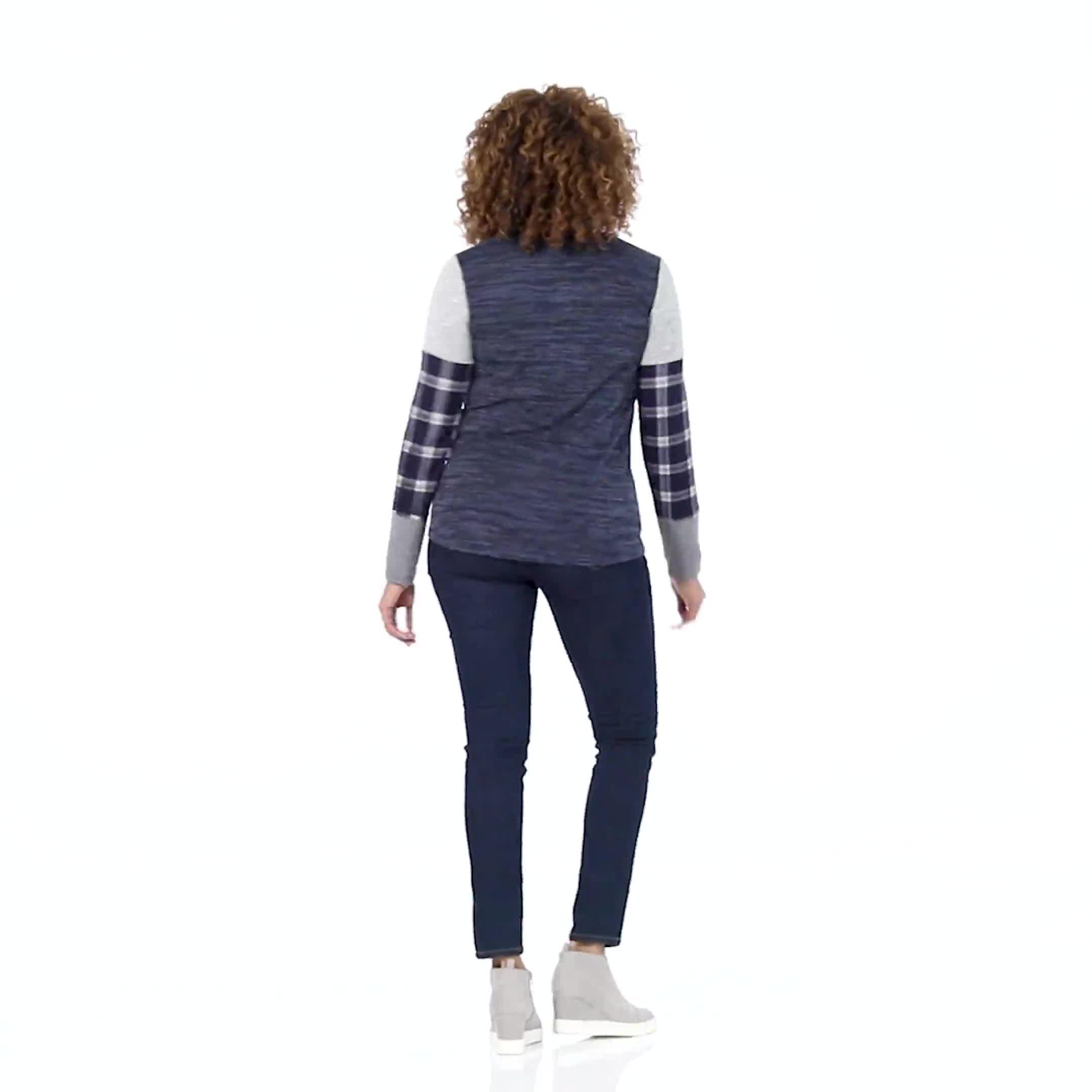 Westport Plaid Cuff Hacci Sweater Knit Top - Video