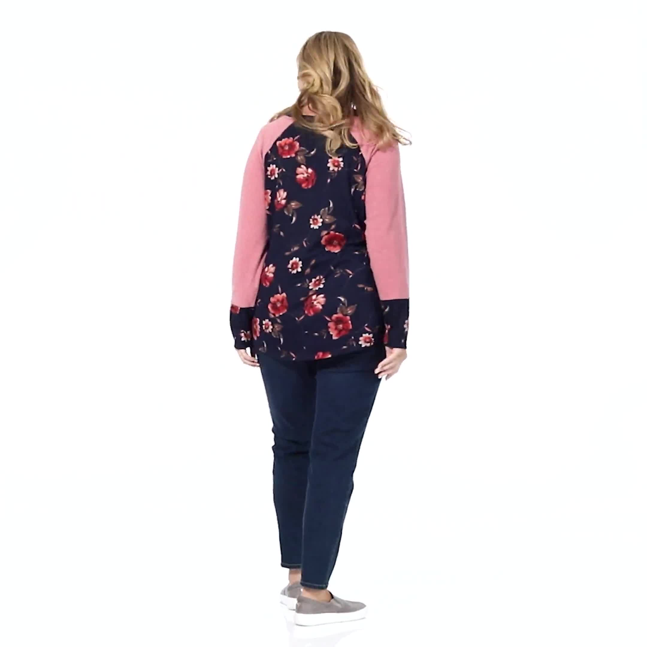 Westport Floral Hacci Twist Front Mix Media Top - Plus - Video