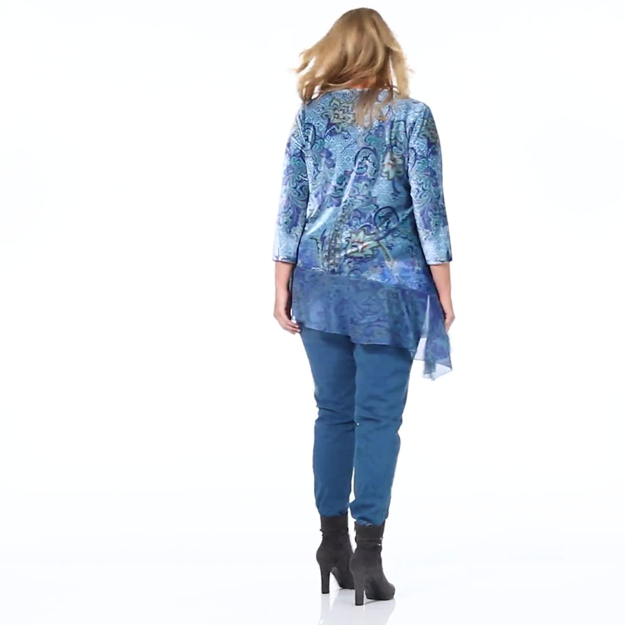 Velvet Asymmetrical Hem Knit Top - Plus - Video