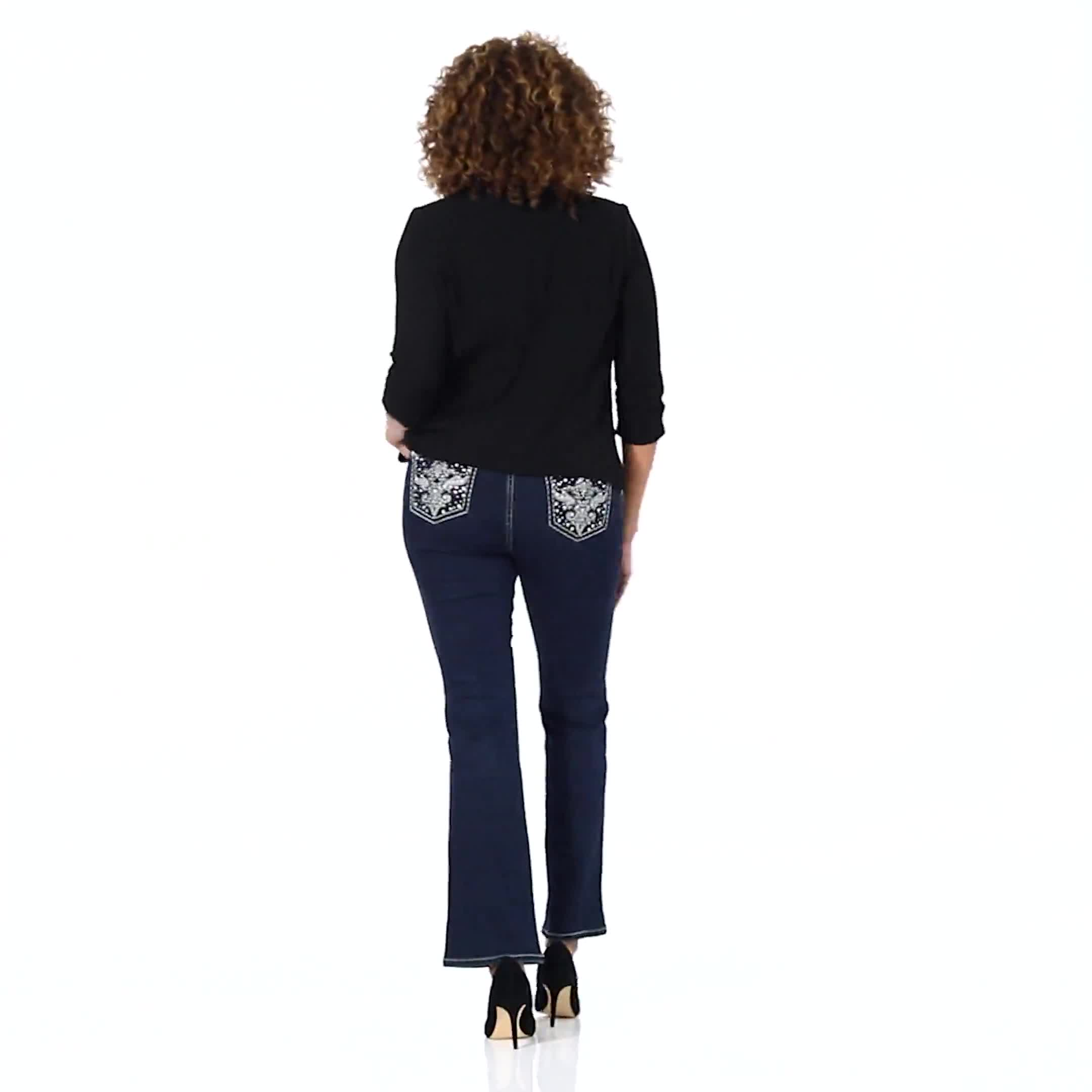 Westport Signature 5 pocket Bootcut Jean with Fleur-de-lis Pattern Bling Back Pocket - Misses - Video