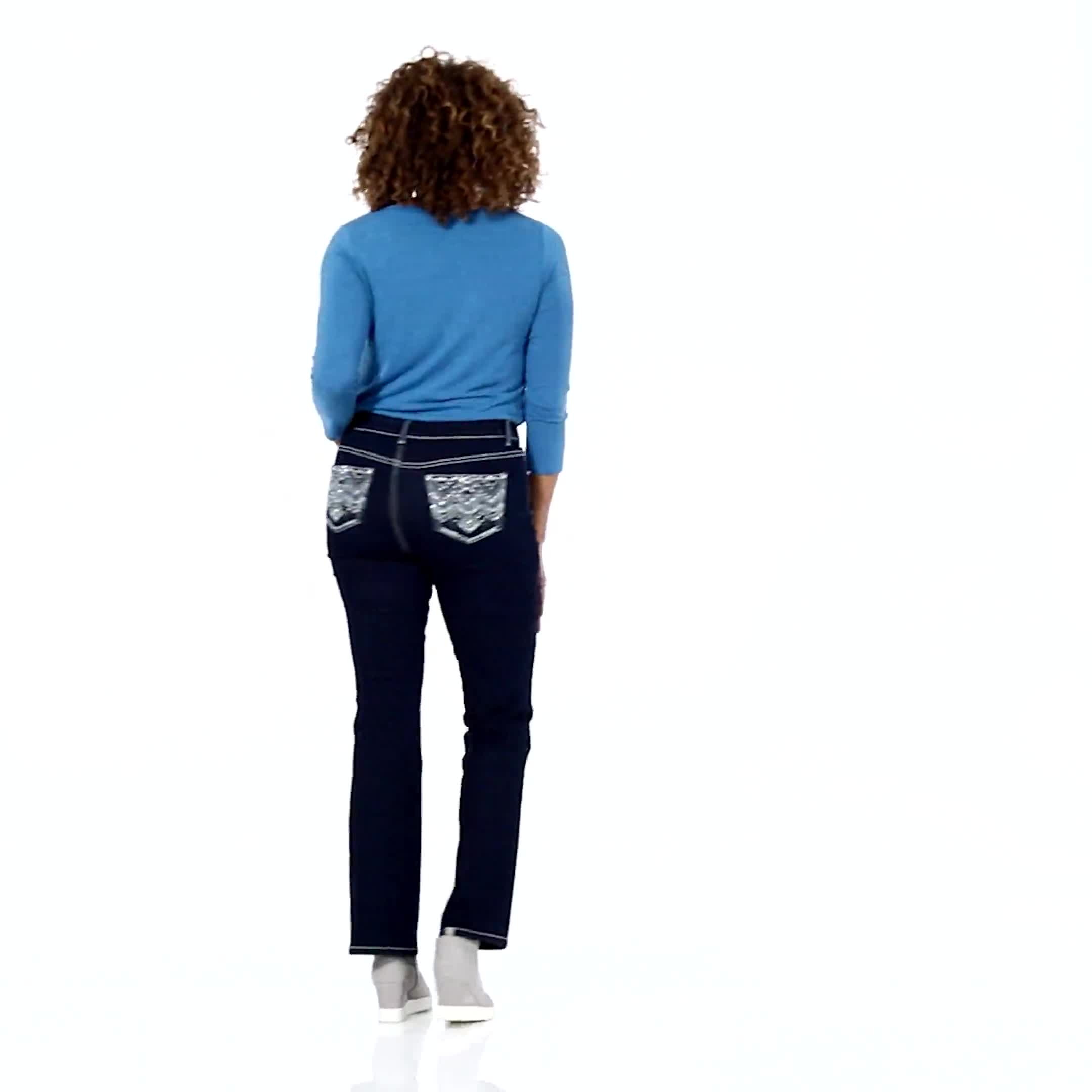 Westport Signature 5 Pocket  Bootcut Jean with Chevron Pattern Bling Back Pocket - Video