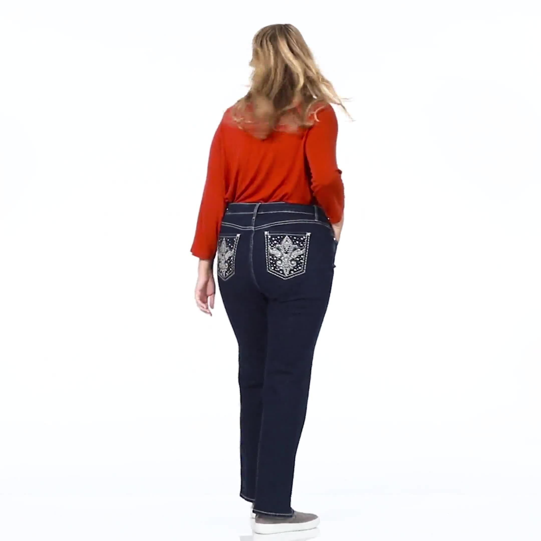 Plus Westport Signature 5 Pocket Bootcut Jean with Fleur-de- lis Bling Back Pocket  - Plus - Video