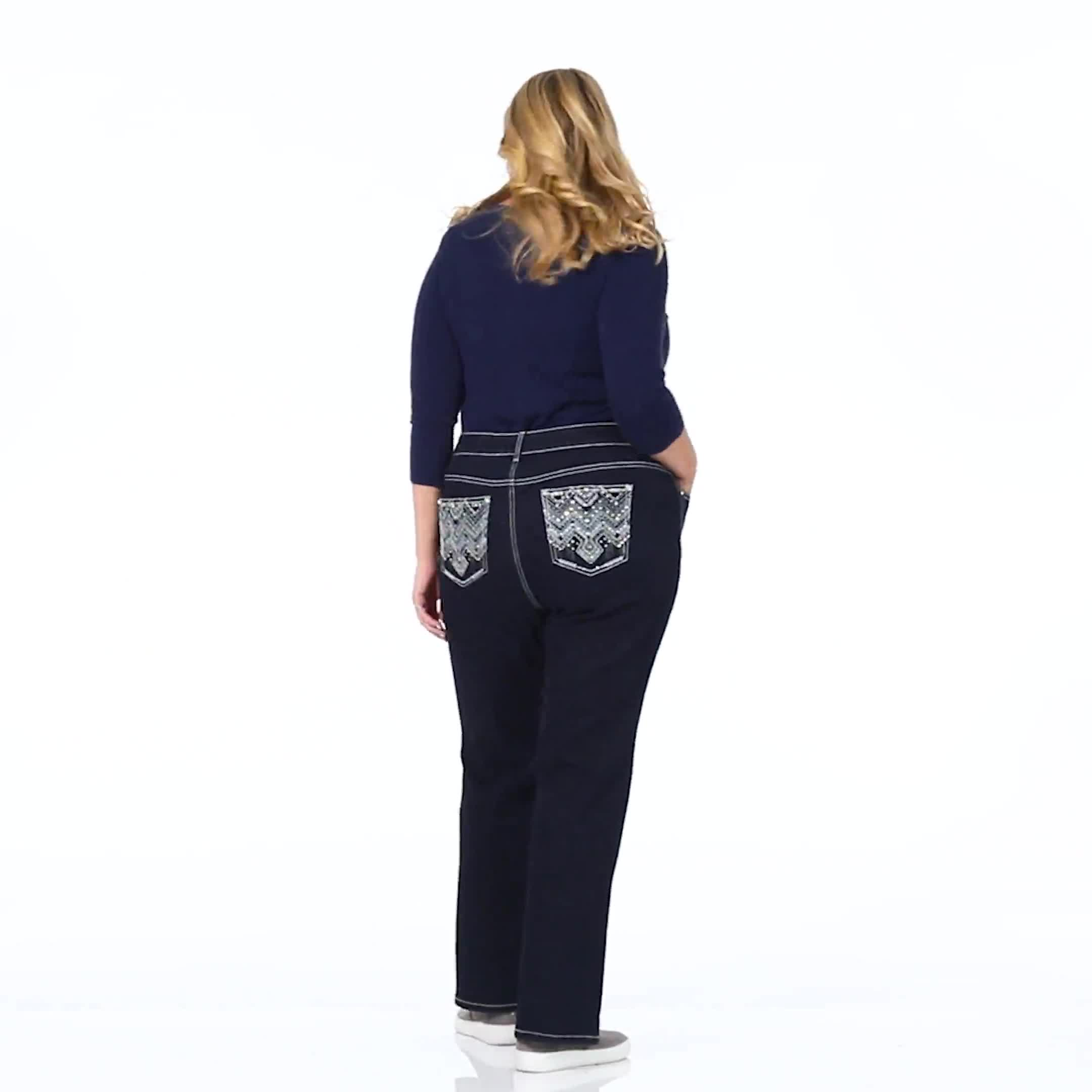 Plus Westport Signature Bootcut 5 Pocket Jean with Chevron Pattern Bling Back Pocket - Plus - Video