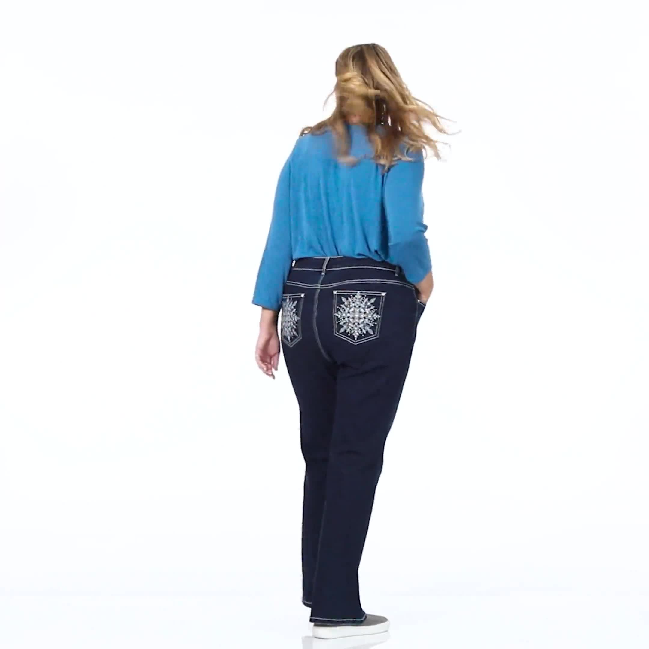 Plus Westport Signature Bootcut 5 Pocket Jean with Starburst Bling Back Pocket Detail - Plus - Video