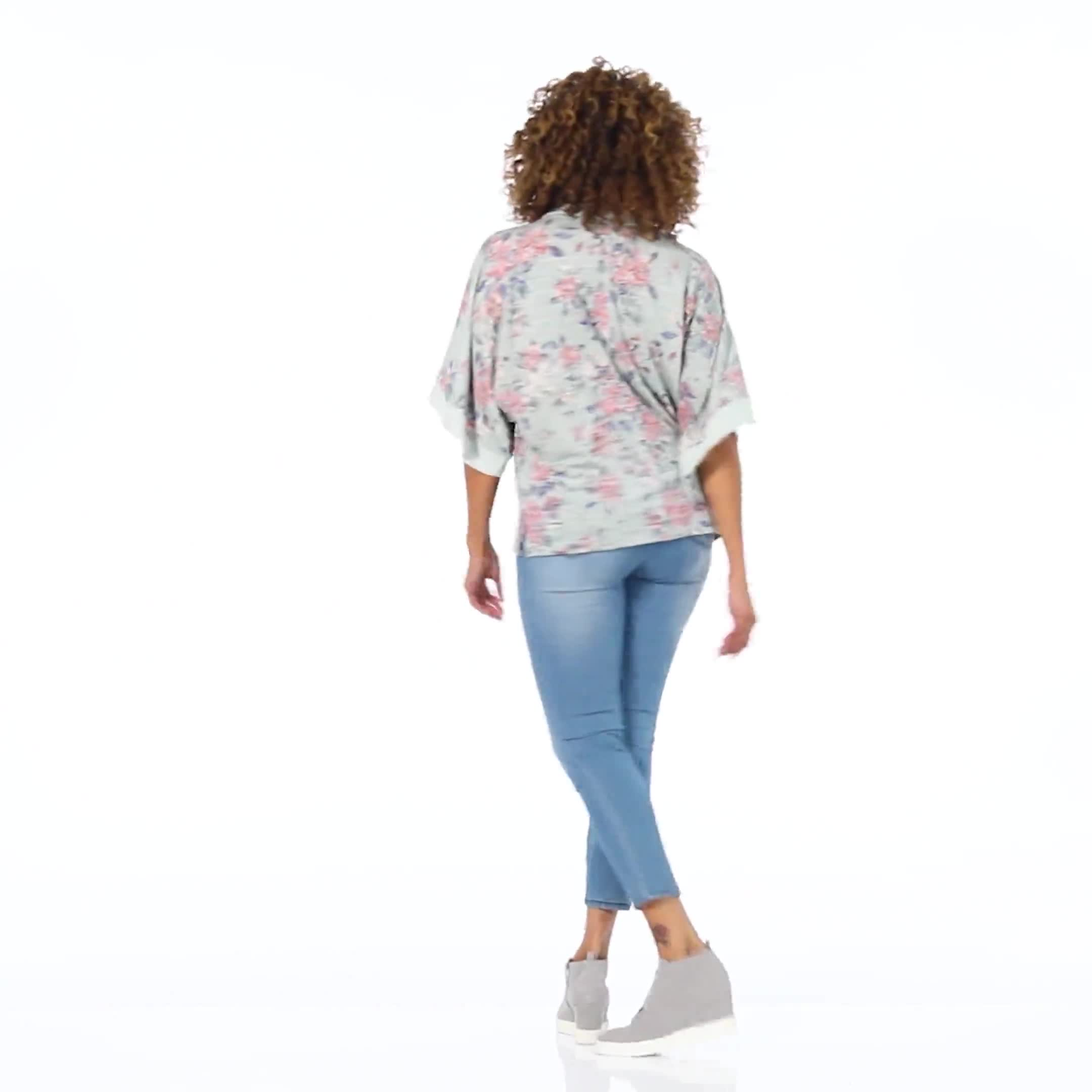 Cowl Neck Floral Knit Top - Video
