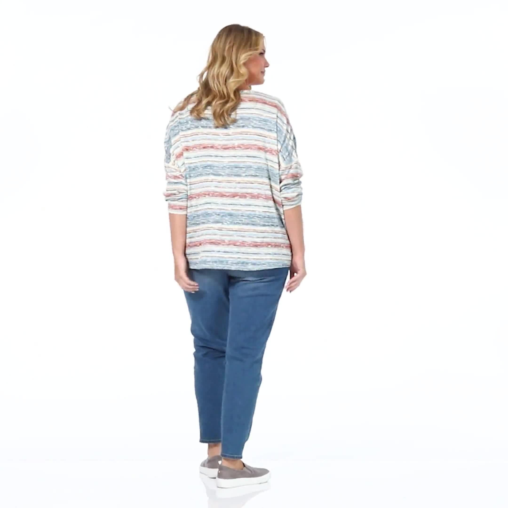 Textured Stripe Tie Front Knit Top - Plus - Video