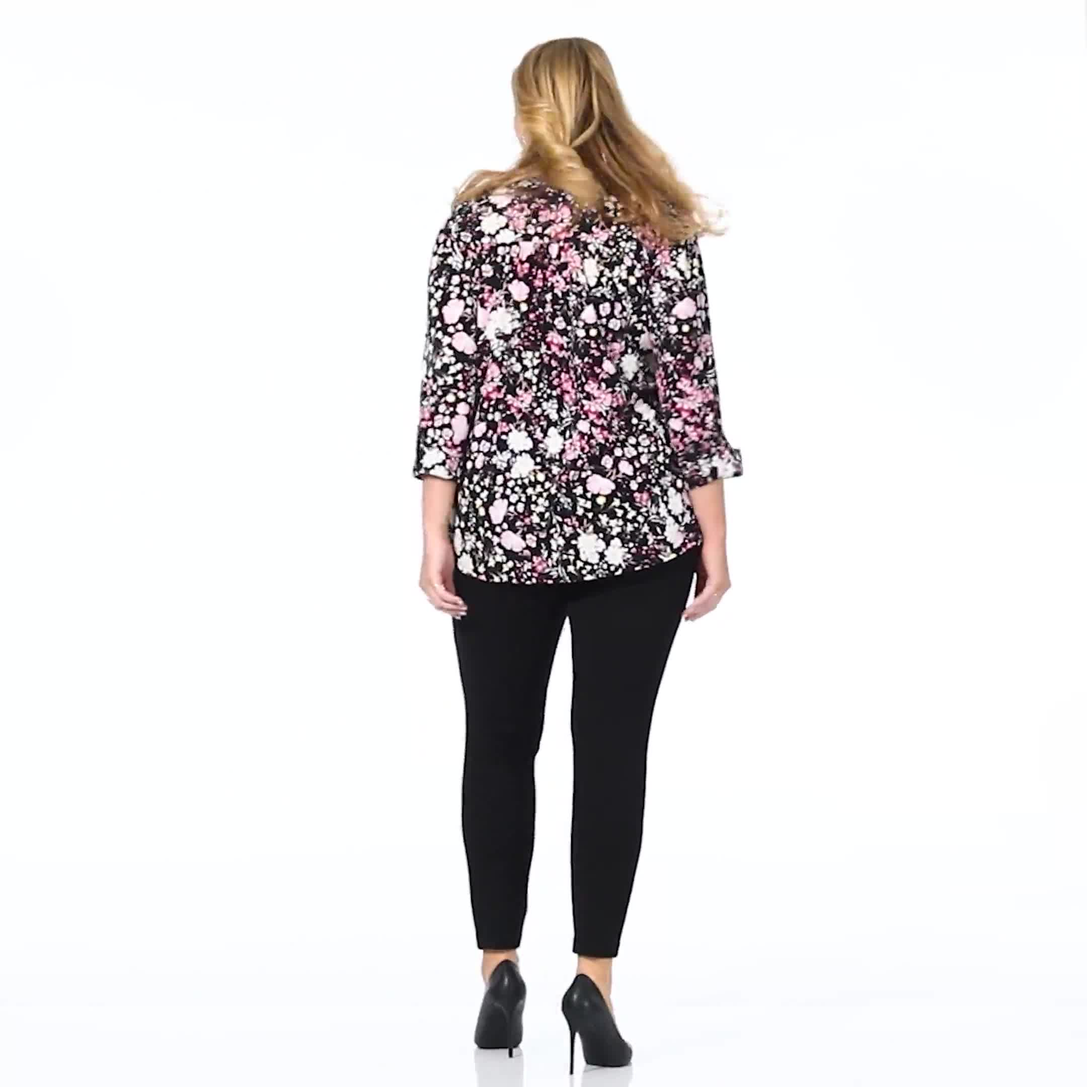 Roz & Ali Floral Bouquet Pintuck Popover - Plus - Video