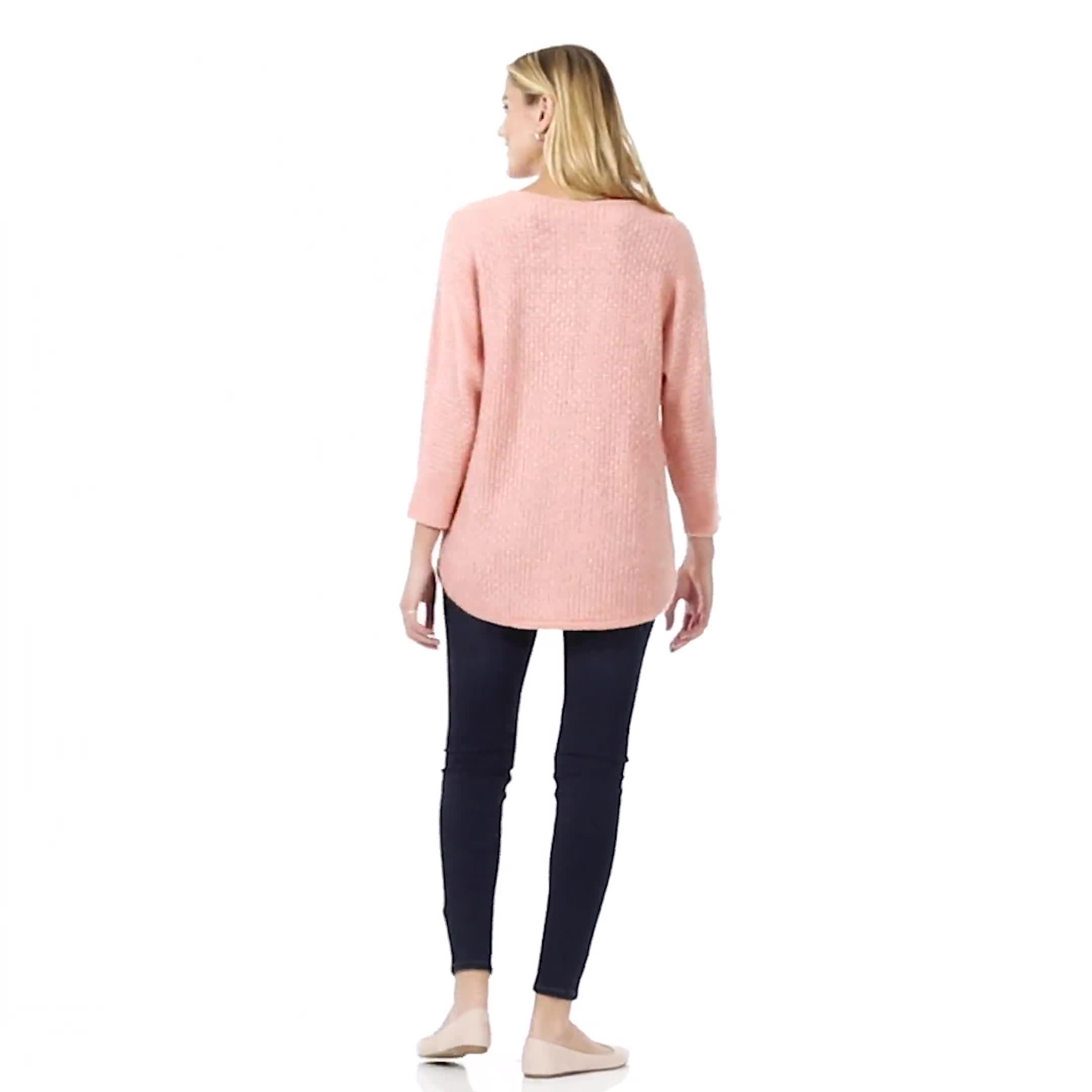 Westport Basketweave Stitch Curved Hem Sweater - Video
