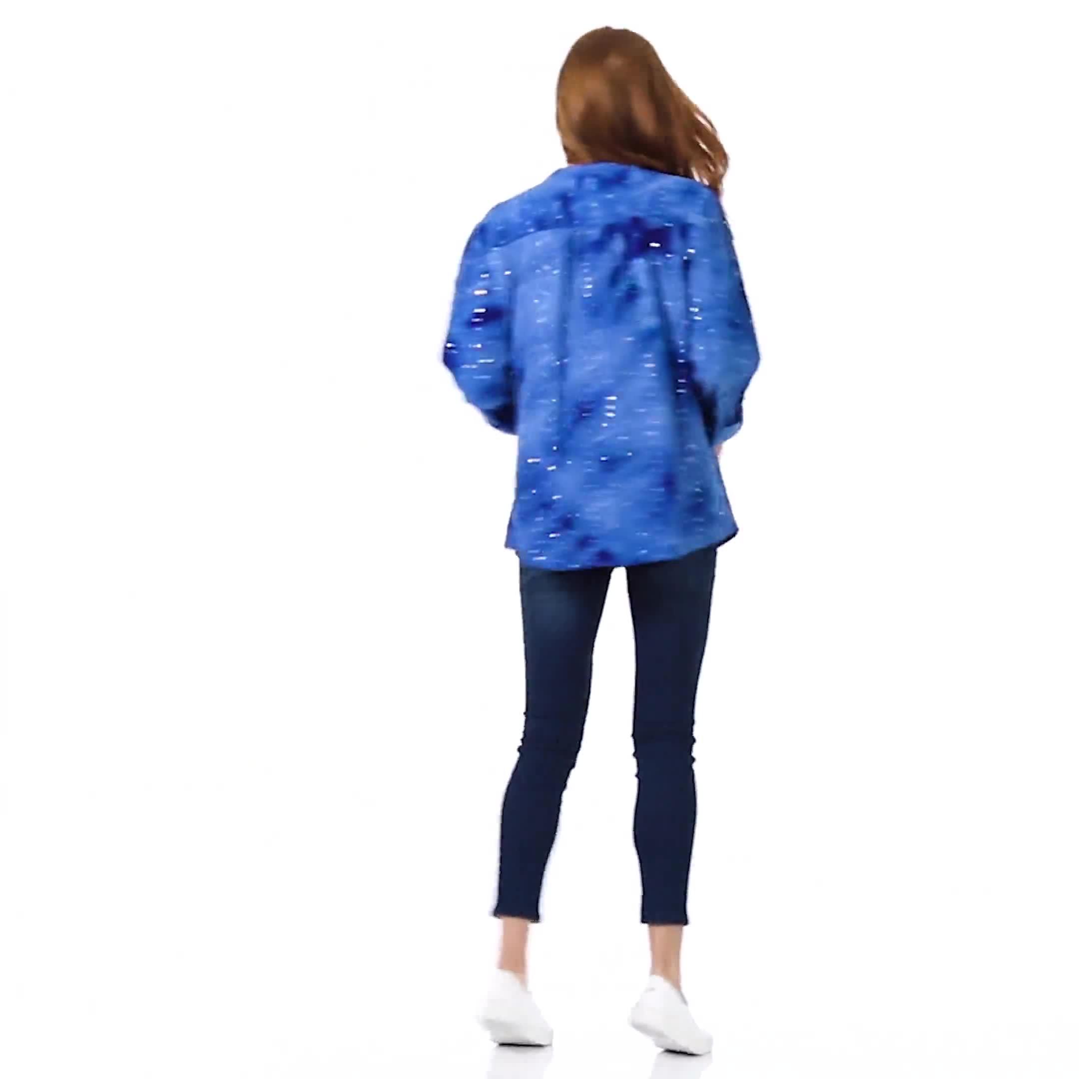 Sequin Blue Tie Dye Popover knit Top - Video