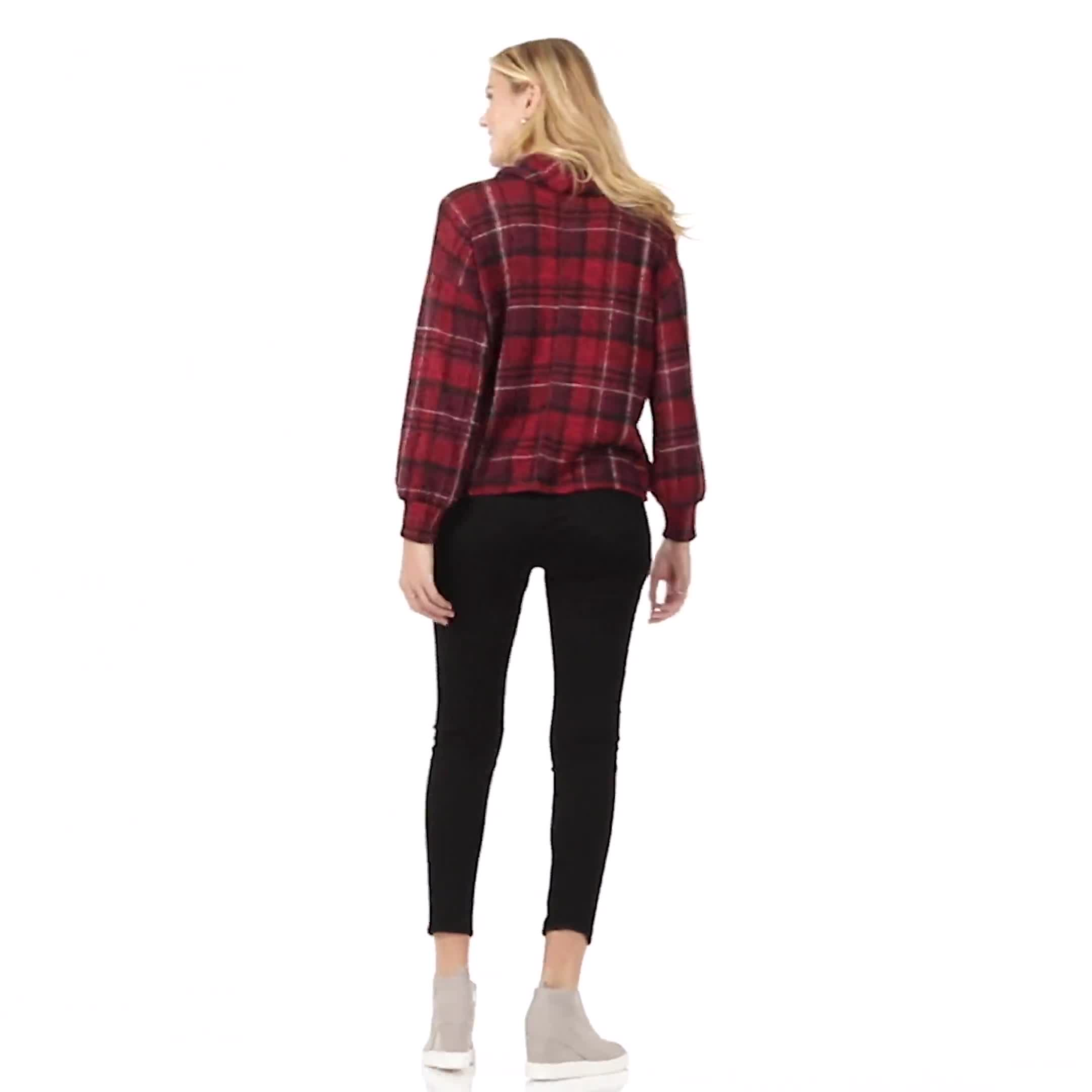 Red Plaid Cowl Neck Top - Misses - Video