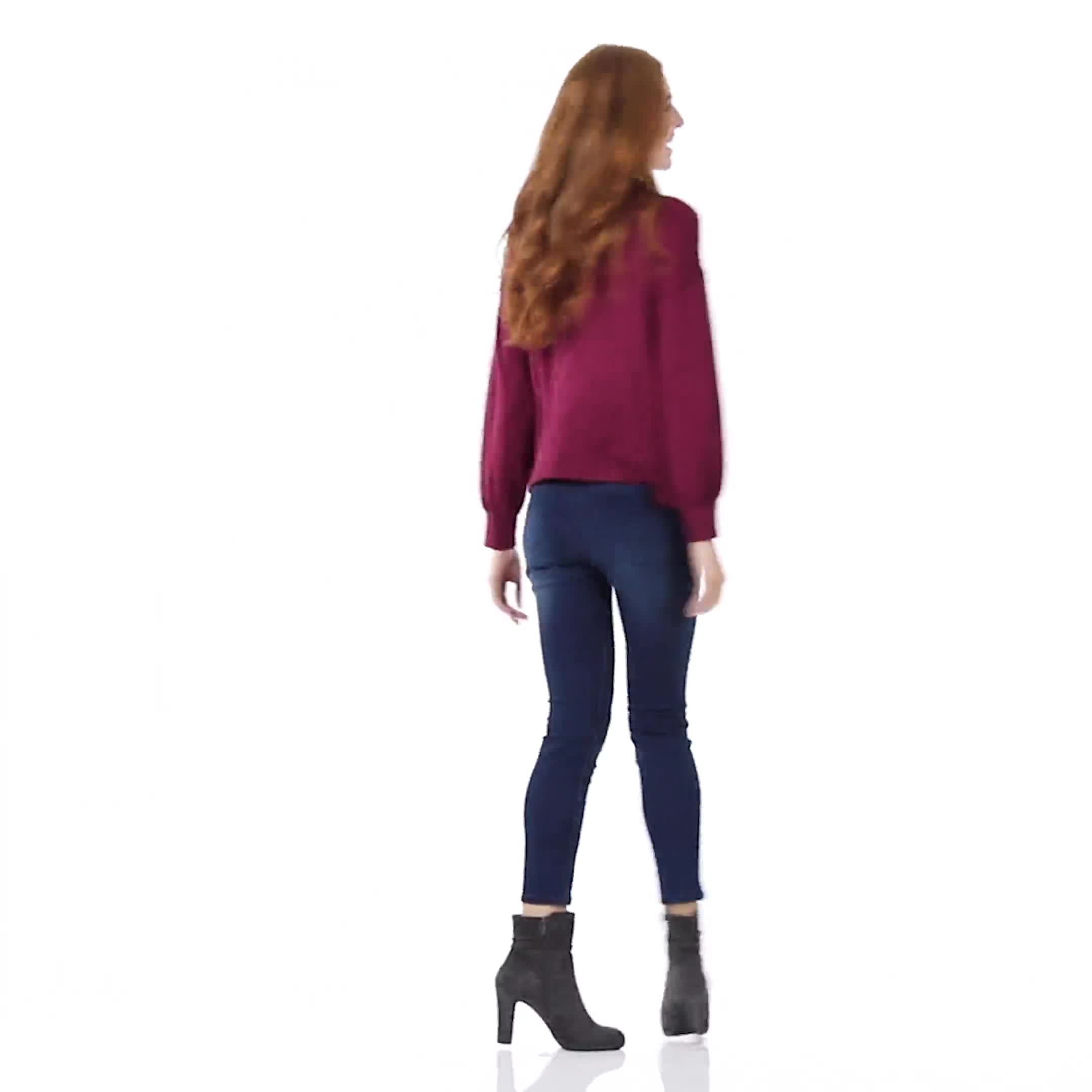 Sweater Knit Cowl Neck Top - Video