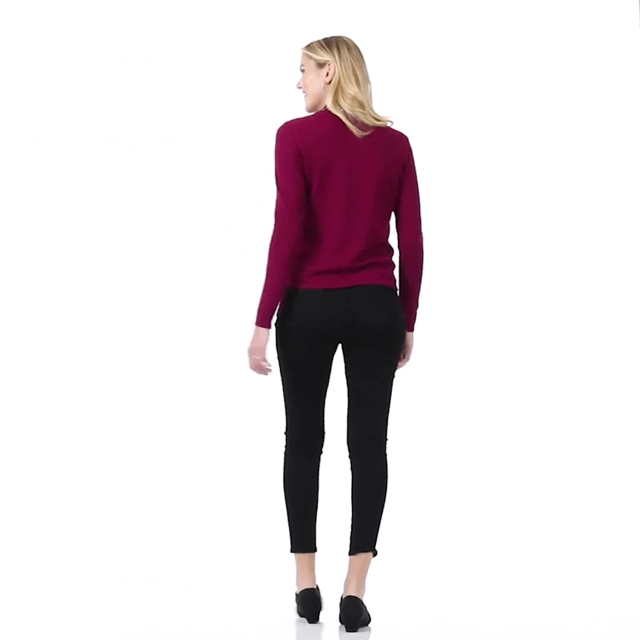 Roz & Ali Jeweled Mock Neck Pullover Sweater - Video