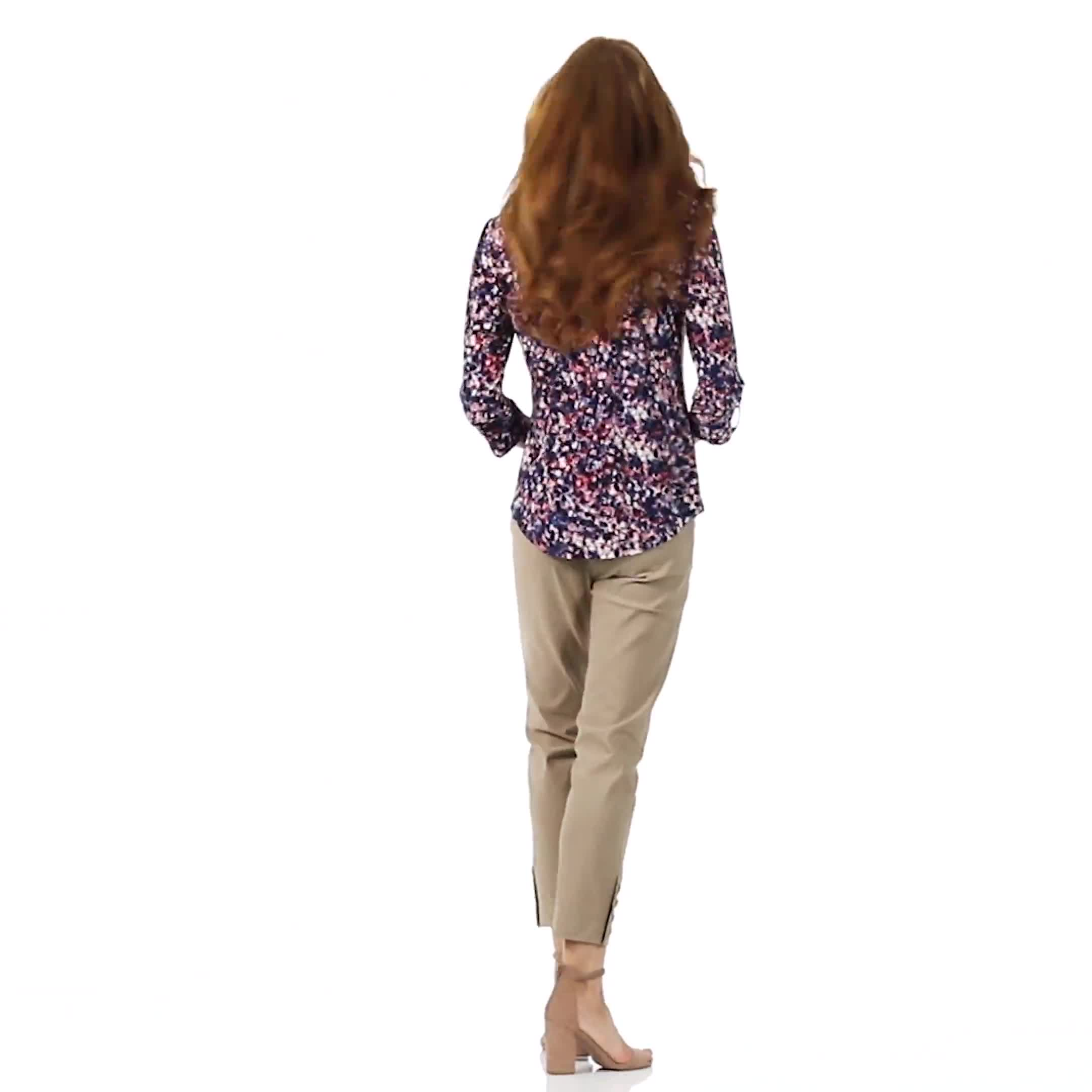 Roz & Ali Small Floral Pintuck Knit Popover - Video