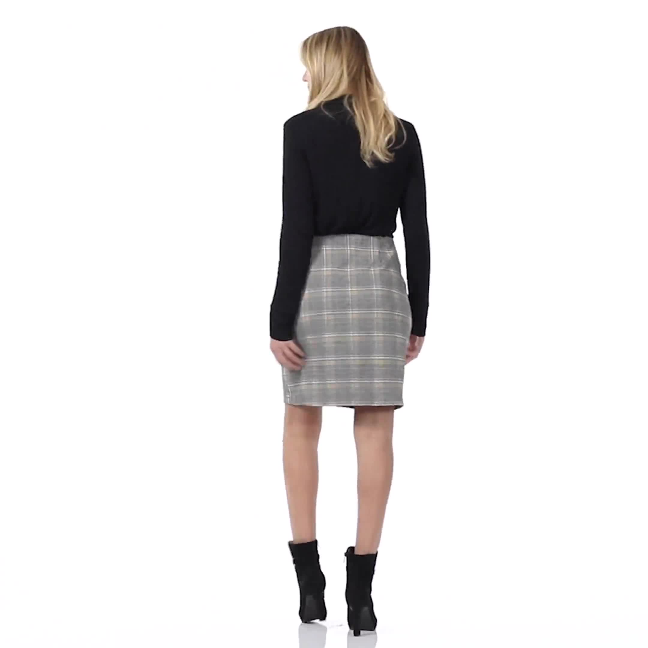 Plaid A Line Skirt with Patch Pockets - Video