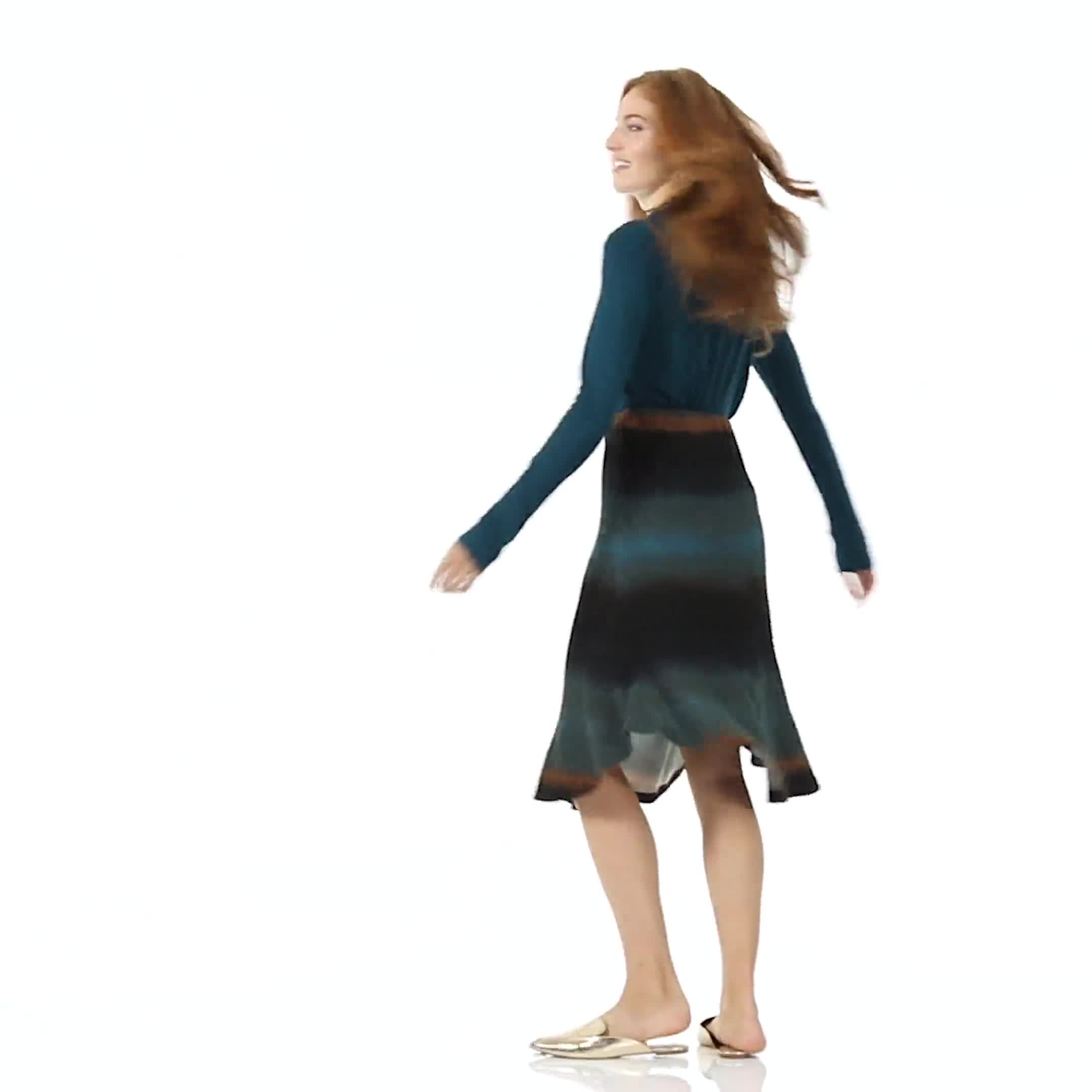 Dip Dye Rib Knit Pull On Skirt - Video