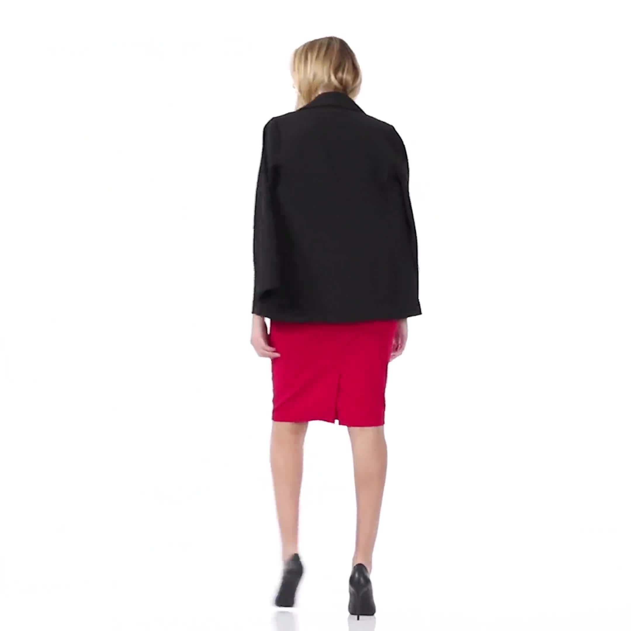 Pencil Skirt with Enamel Button Trim - Video