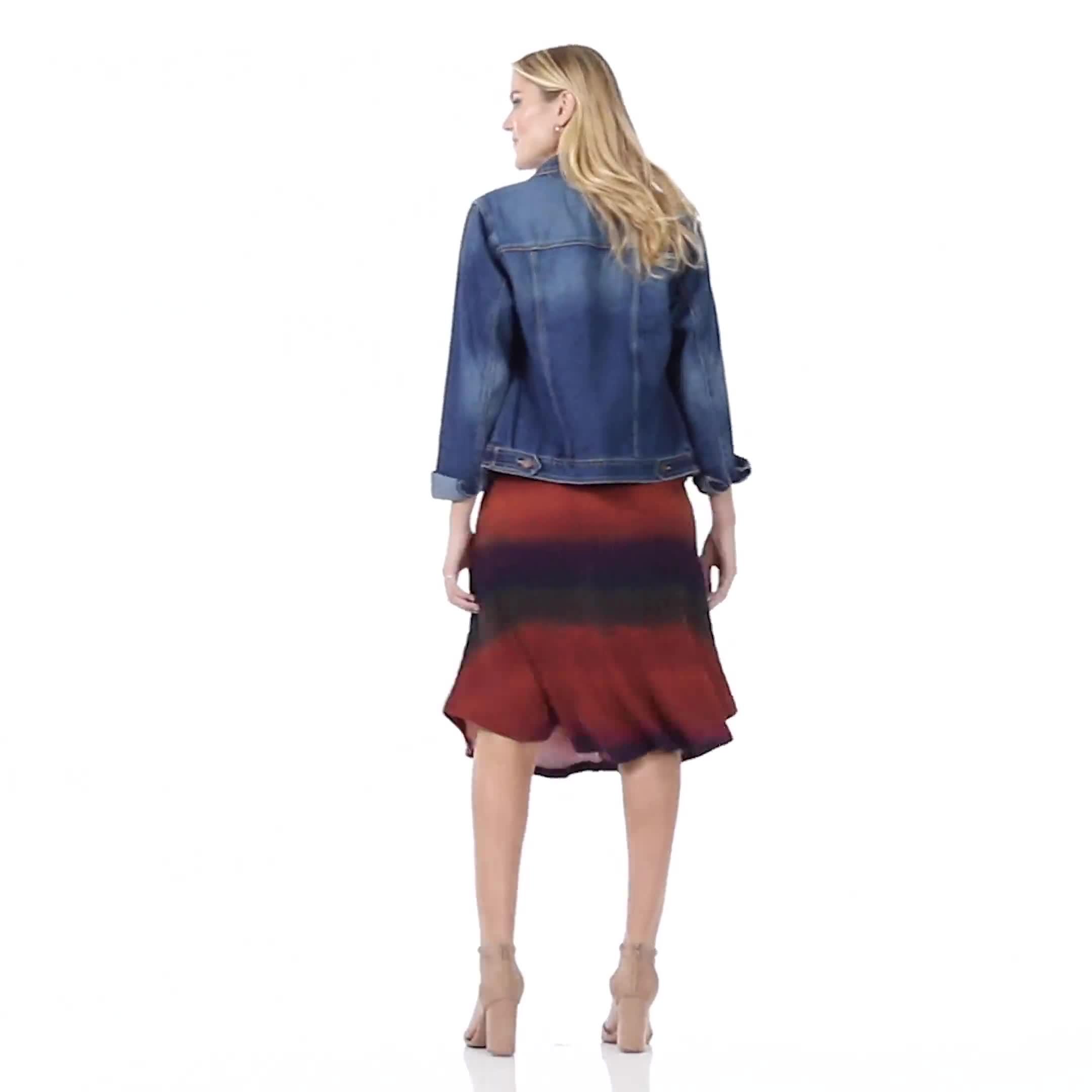 Dip Dye Rib Knit Pull On Skirt - Video