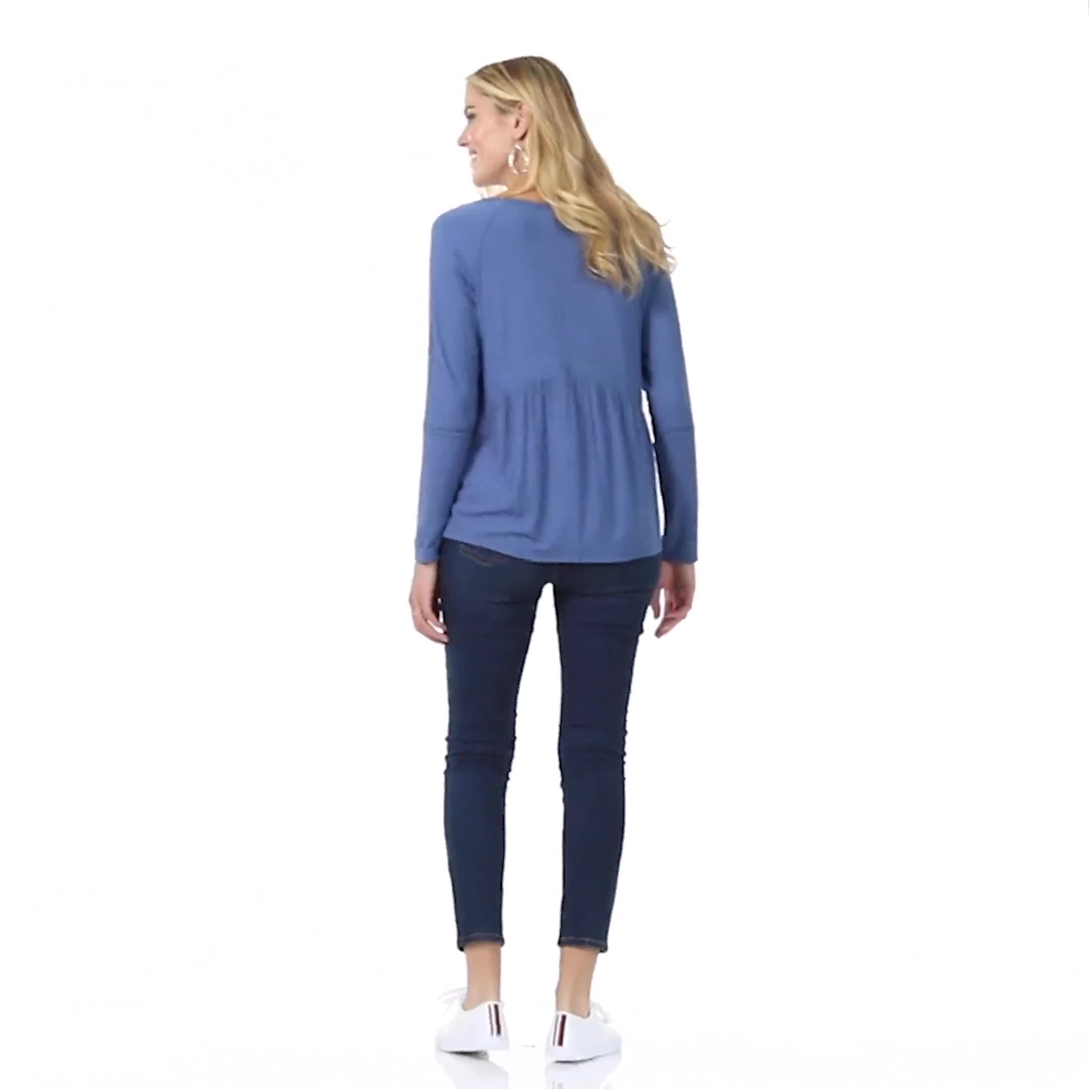 Pointelle V-Neck Knit Top - Video