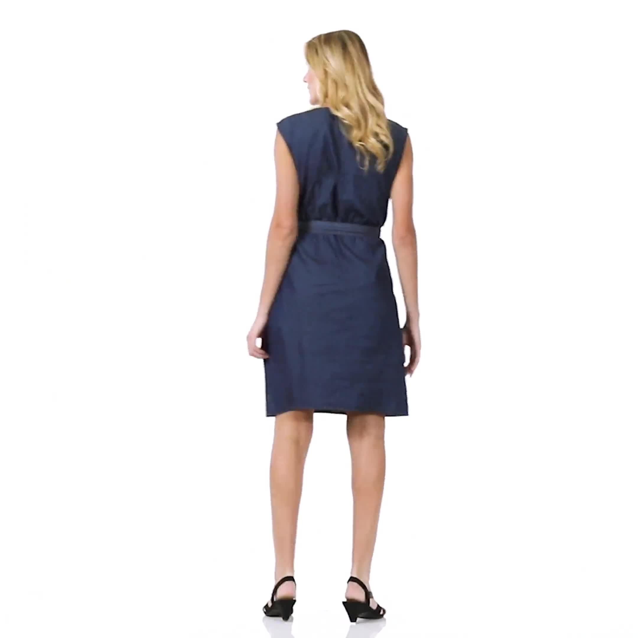 Denim Side Button Dress - Video