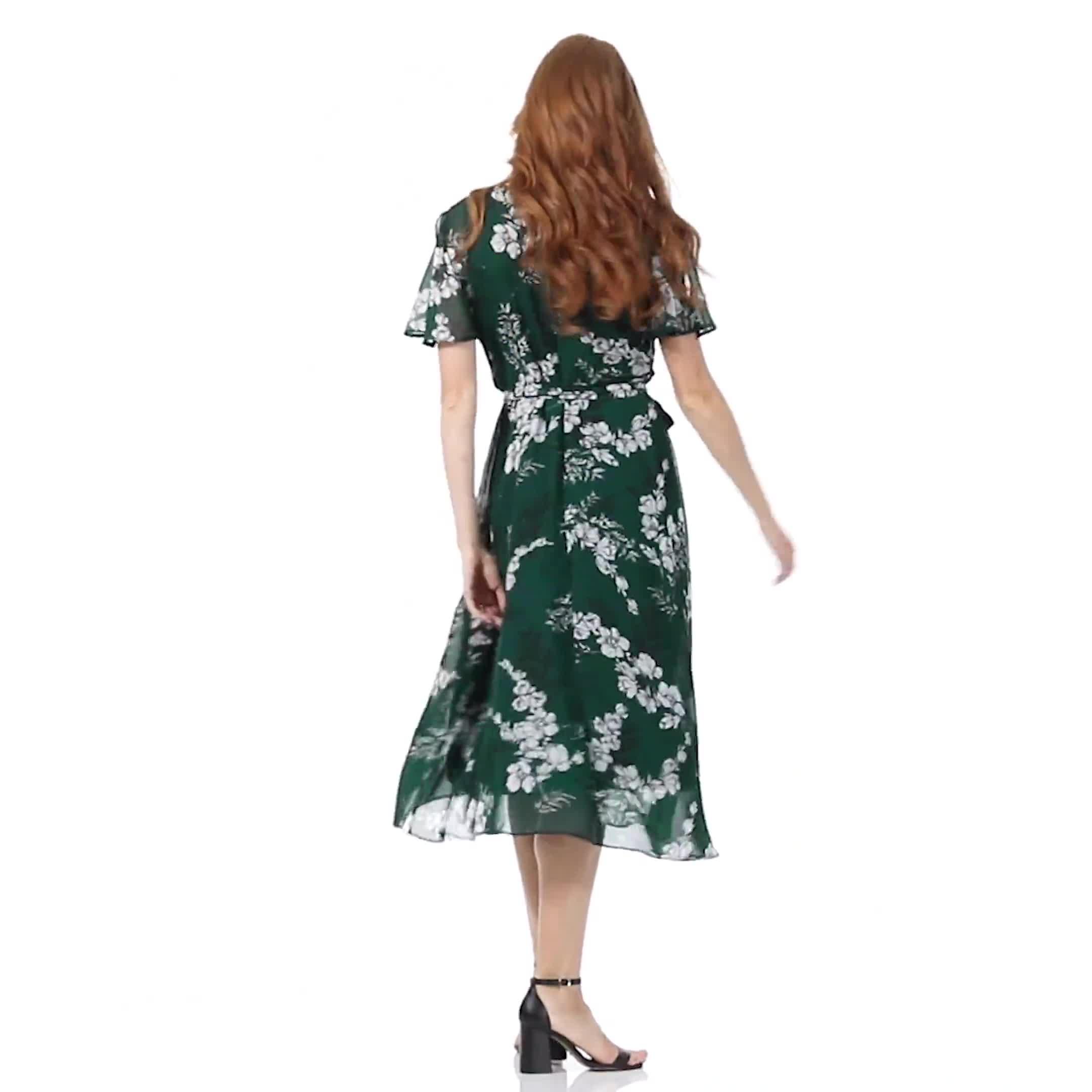 Floral Wrap Midi Dress - Misses - Video
