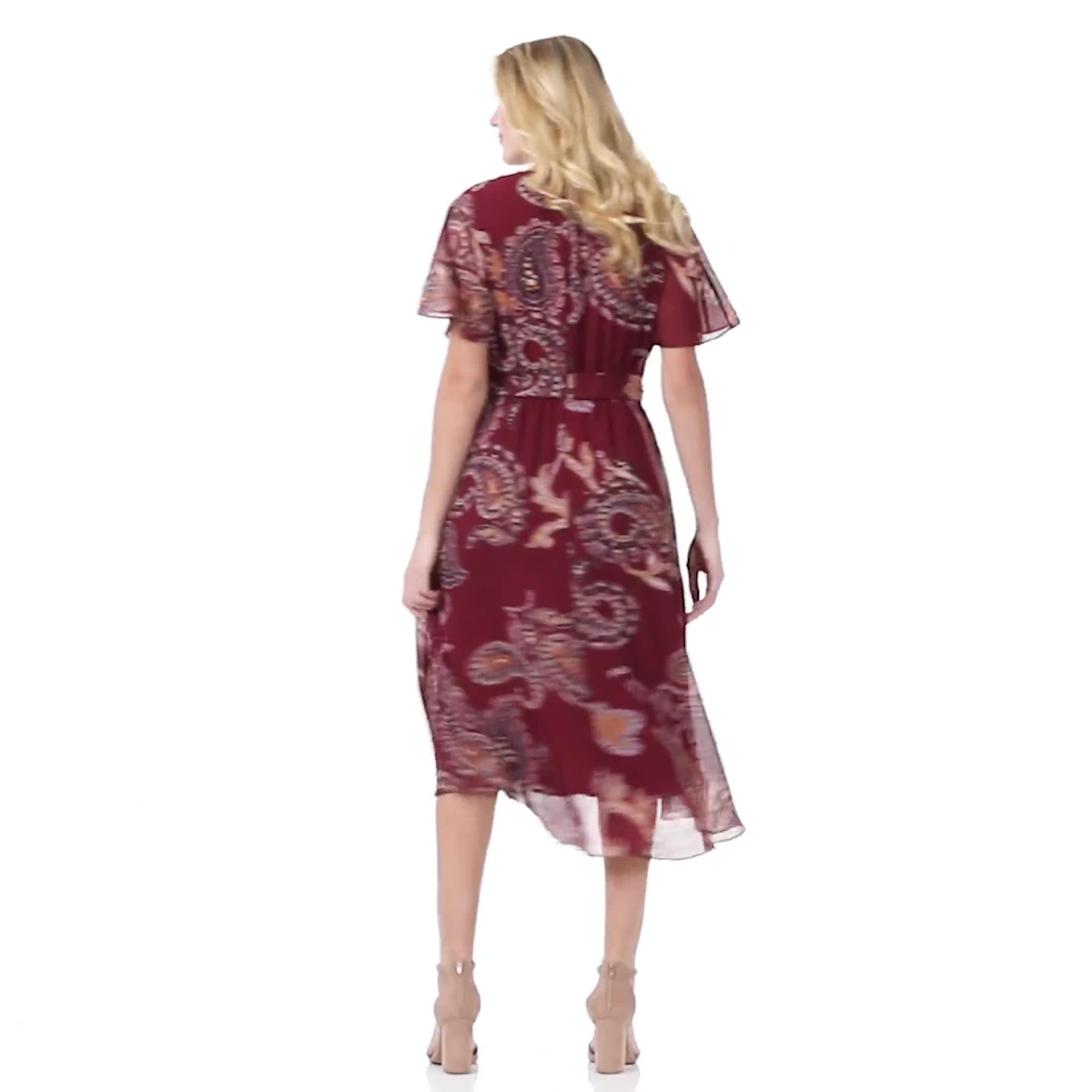 Paisley Wrap Midi Dress - Misses - Video