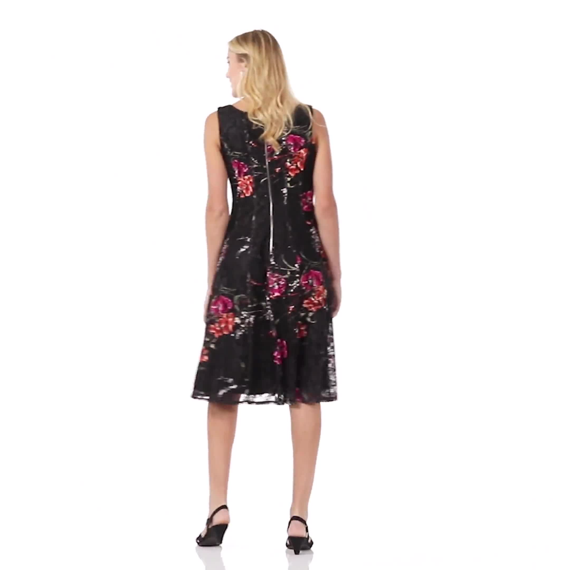 Floral Lace Fit and Flare Dress - Video