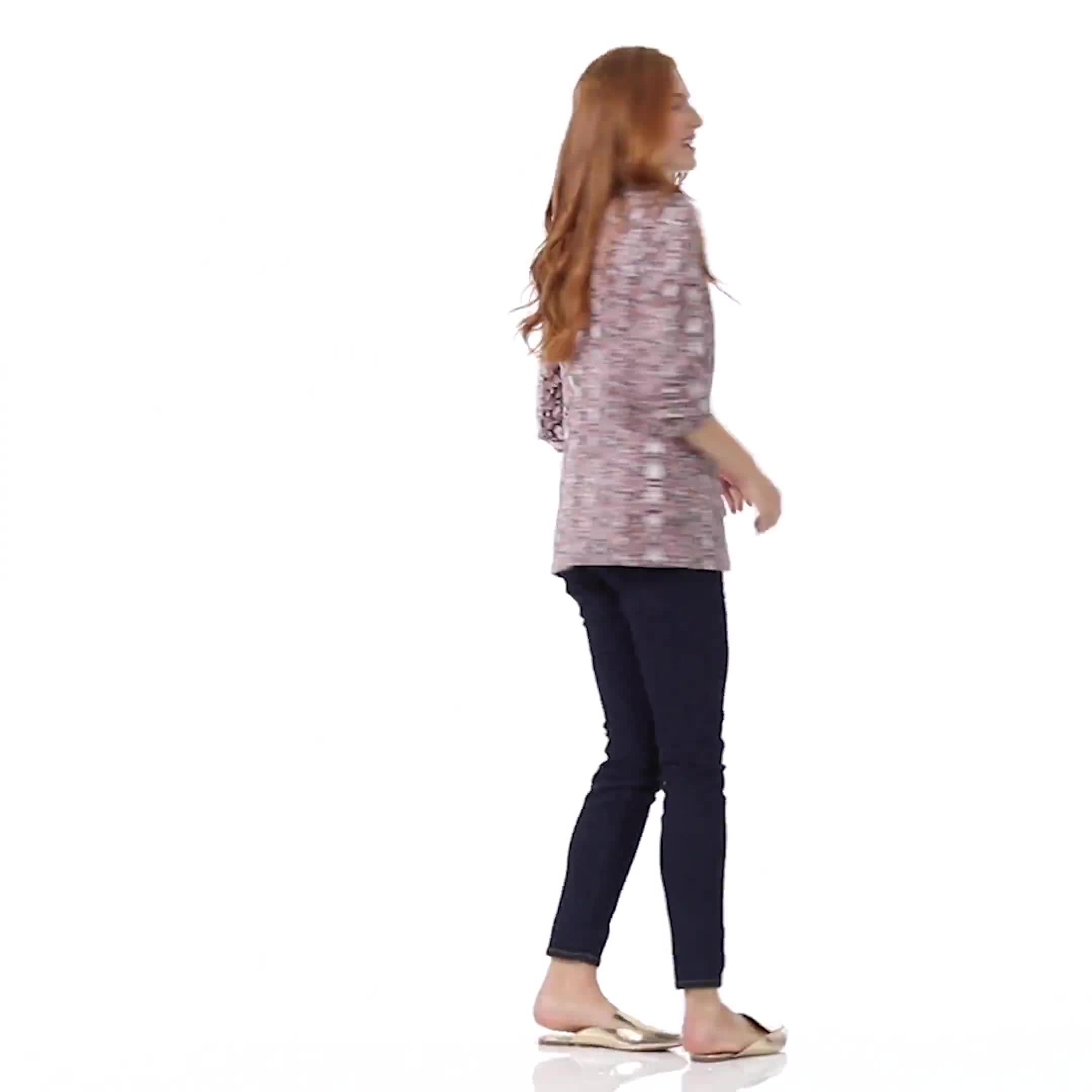Printed Scuba Crepe Open Front Jacket - Video