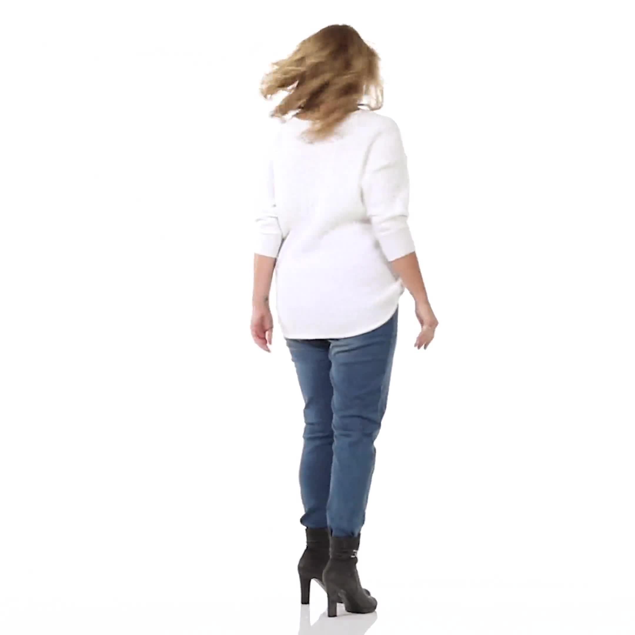 Westport Basketweave Stitch Curved Hem Sweater - Plus - Video