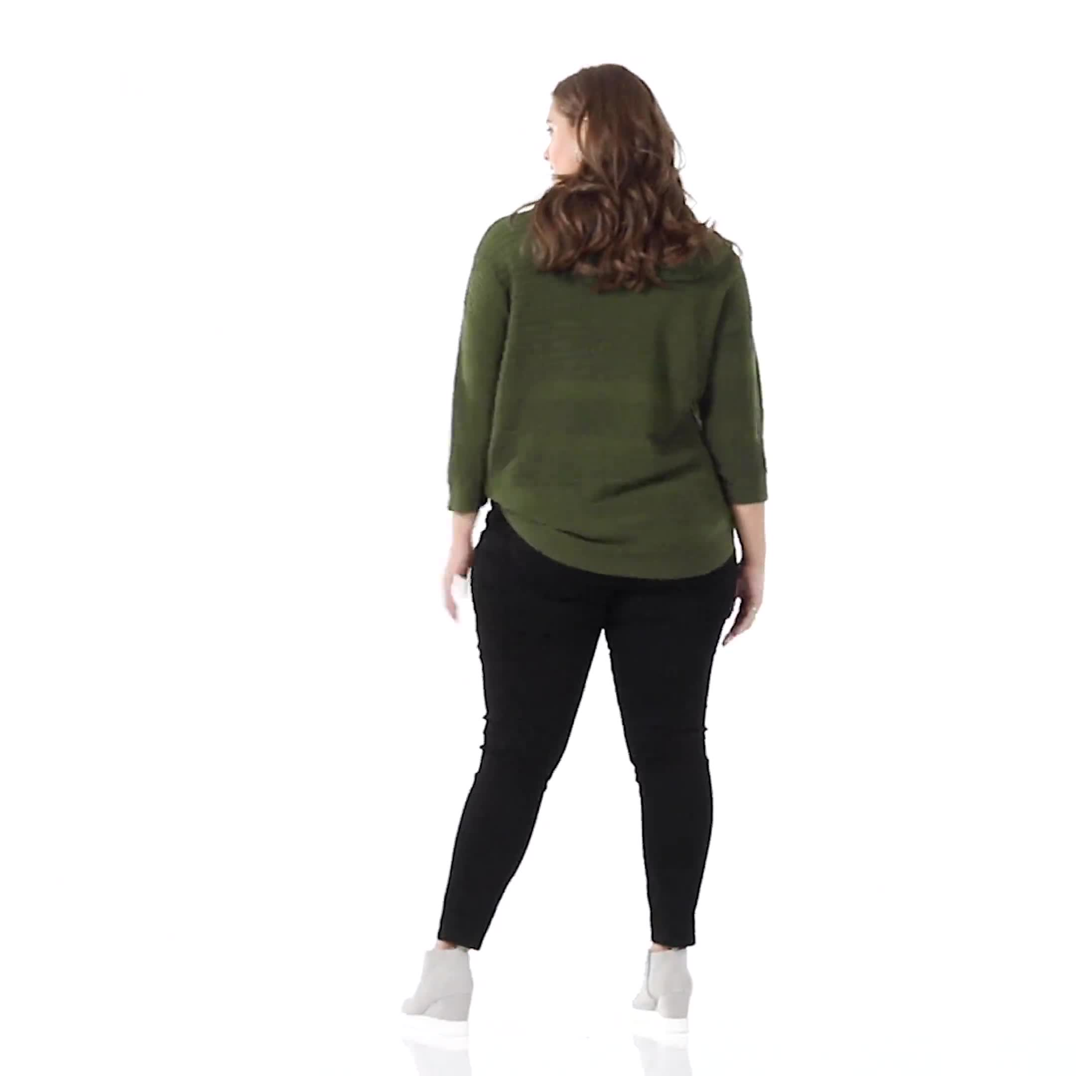 Westport Ottoman Stitch Curved Hem Sweater - Plus - Video