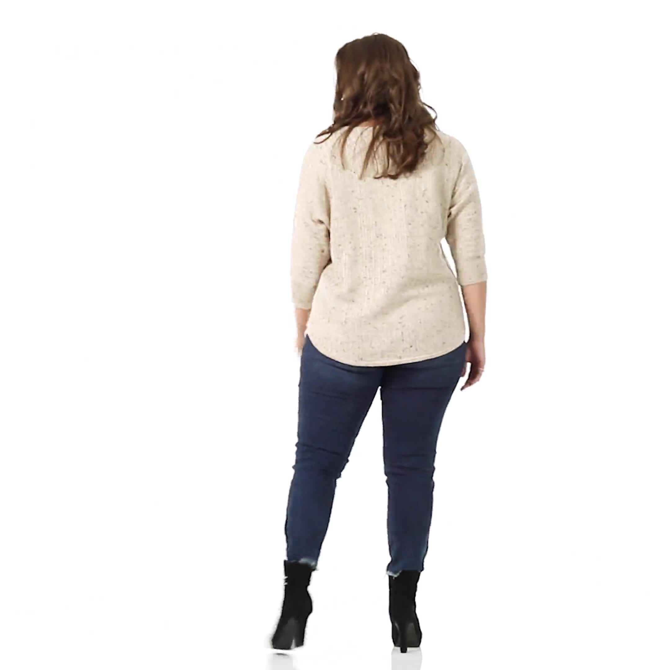 Westport Novelty Yarn Curved Hem Sweater - Plus - Video