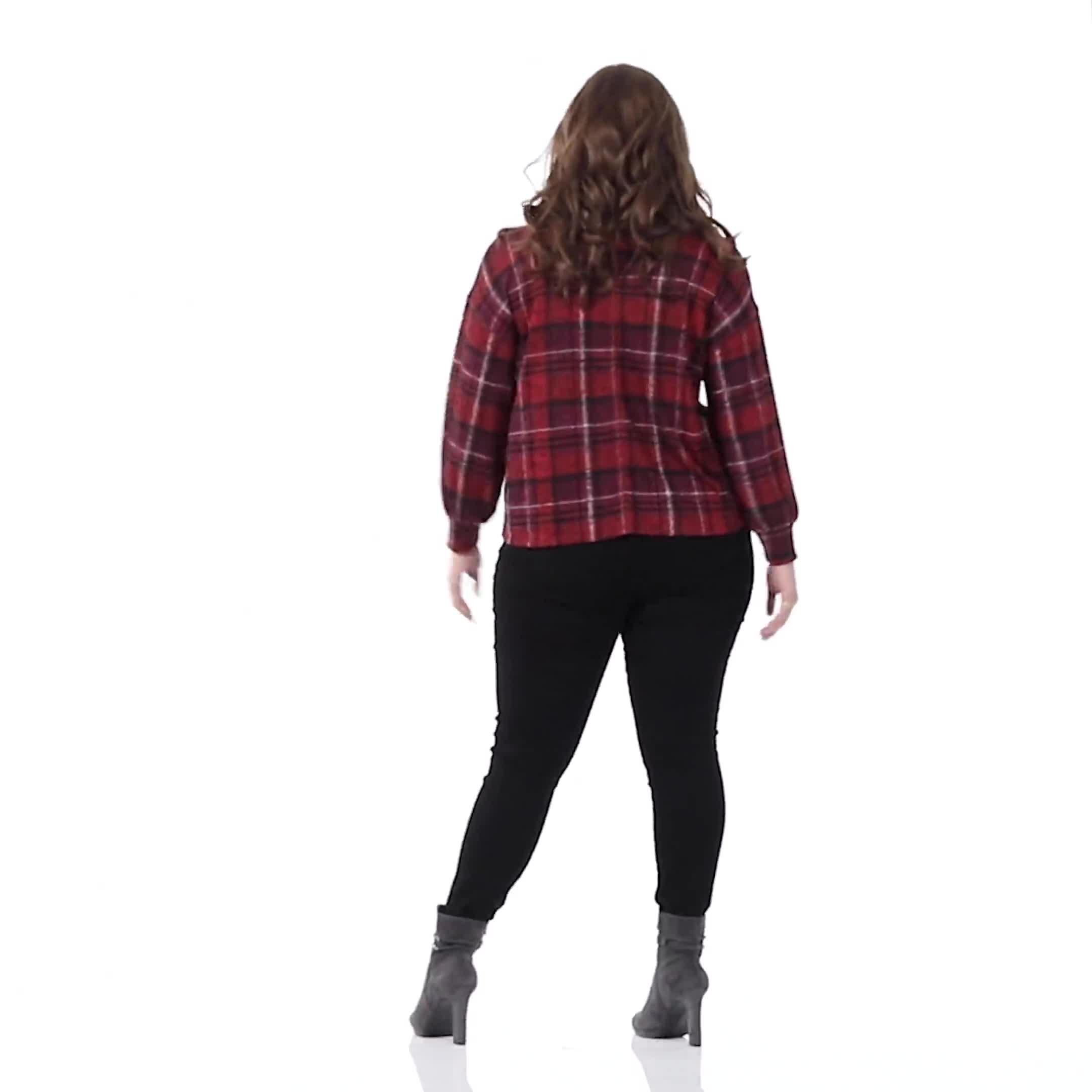 Red Plaid Cowl Neck Top - Plus - Video