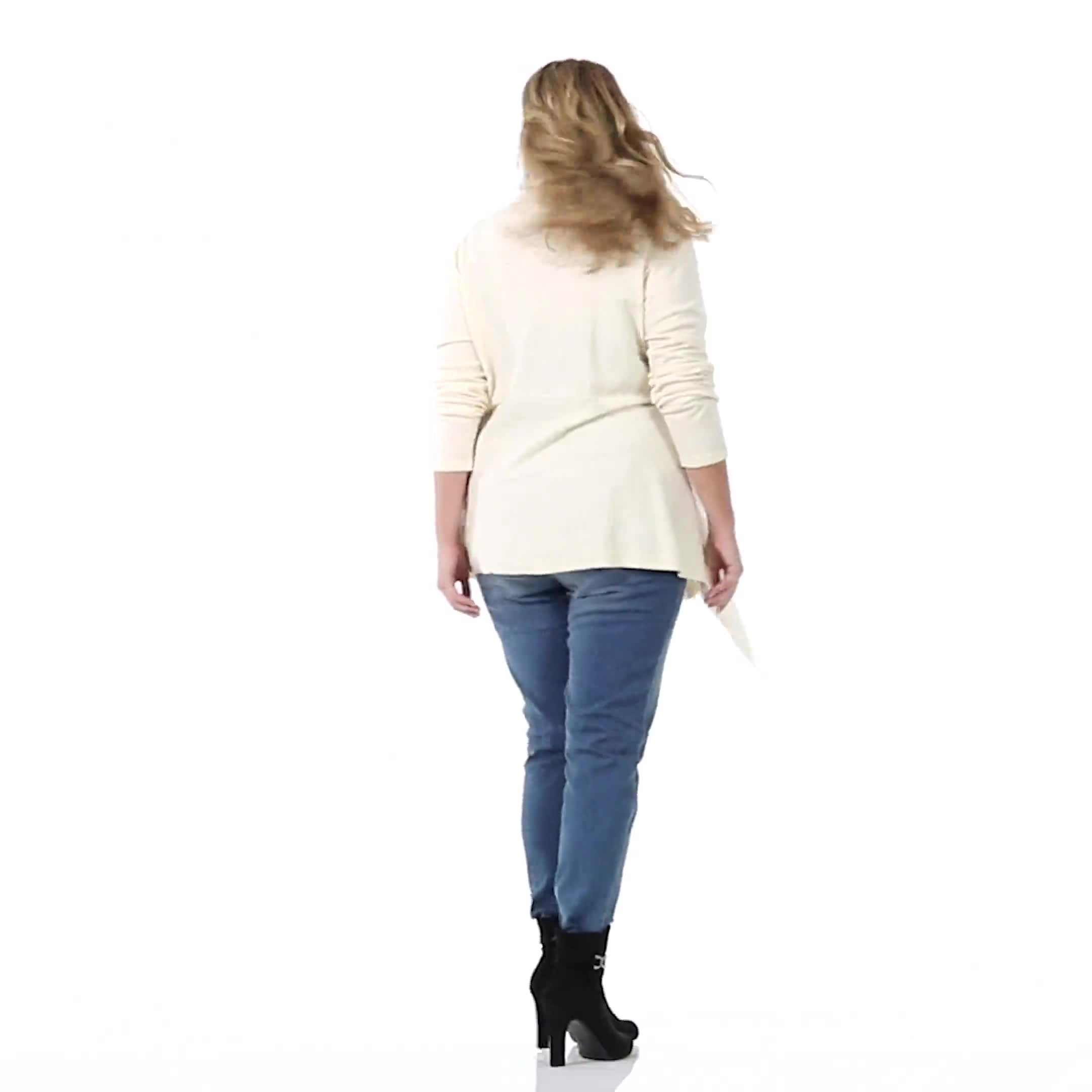 Roz & Ali Cable Front Buckle Cardigan - Plus - Video