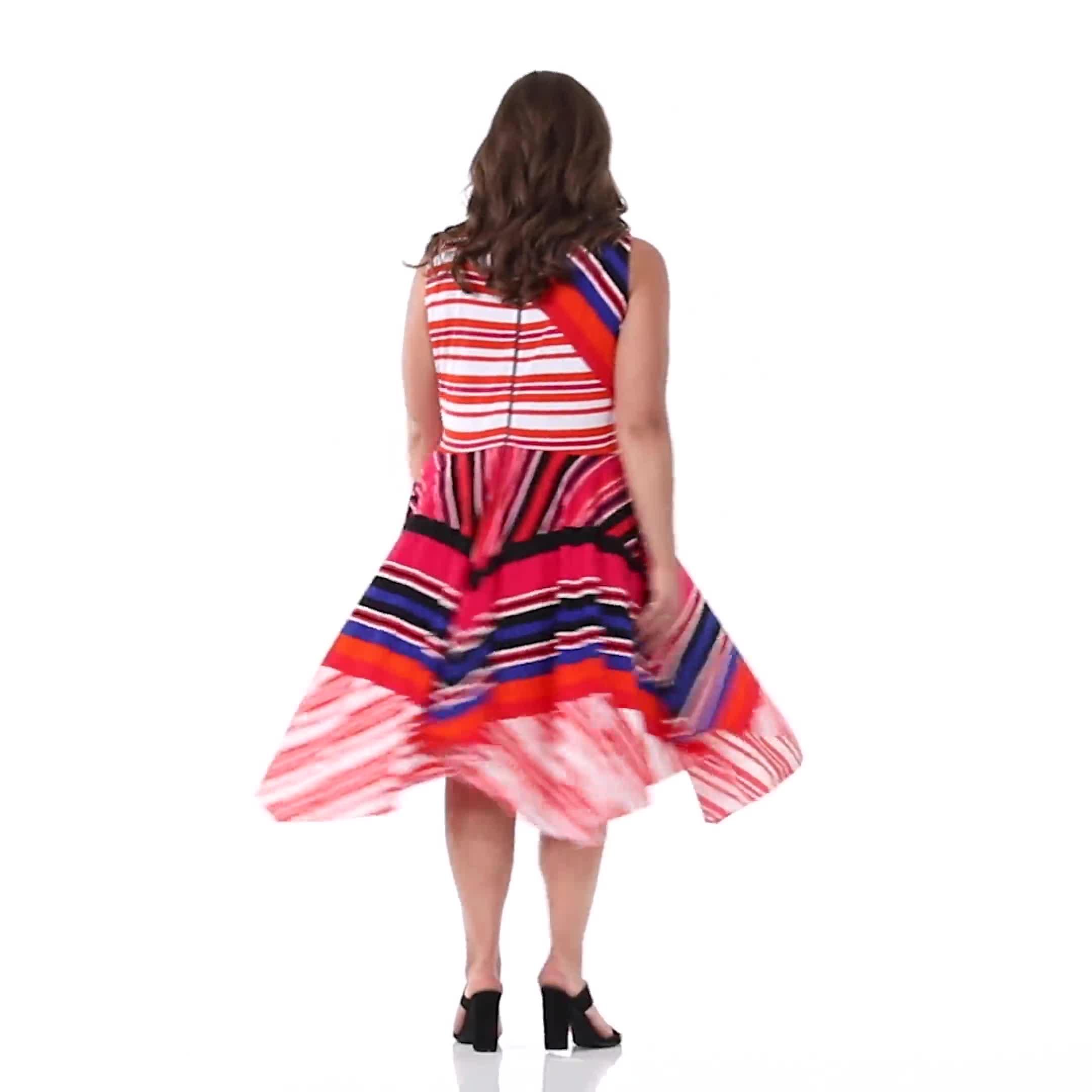 Sleeveless Striped Colorful Dress - Plus - Video