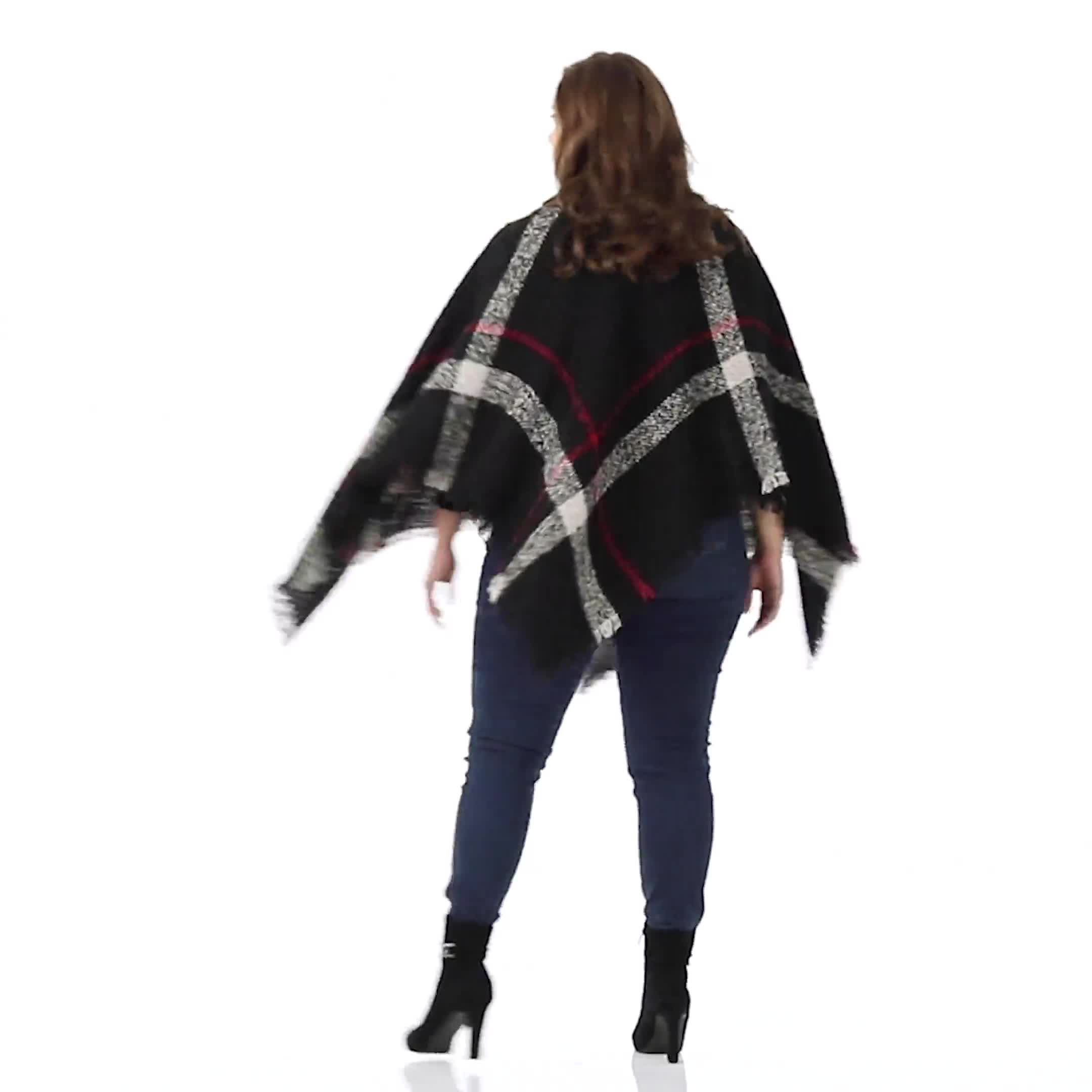 Roz & Ali Plaid Sweater Poncho - Plus - Video
