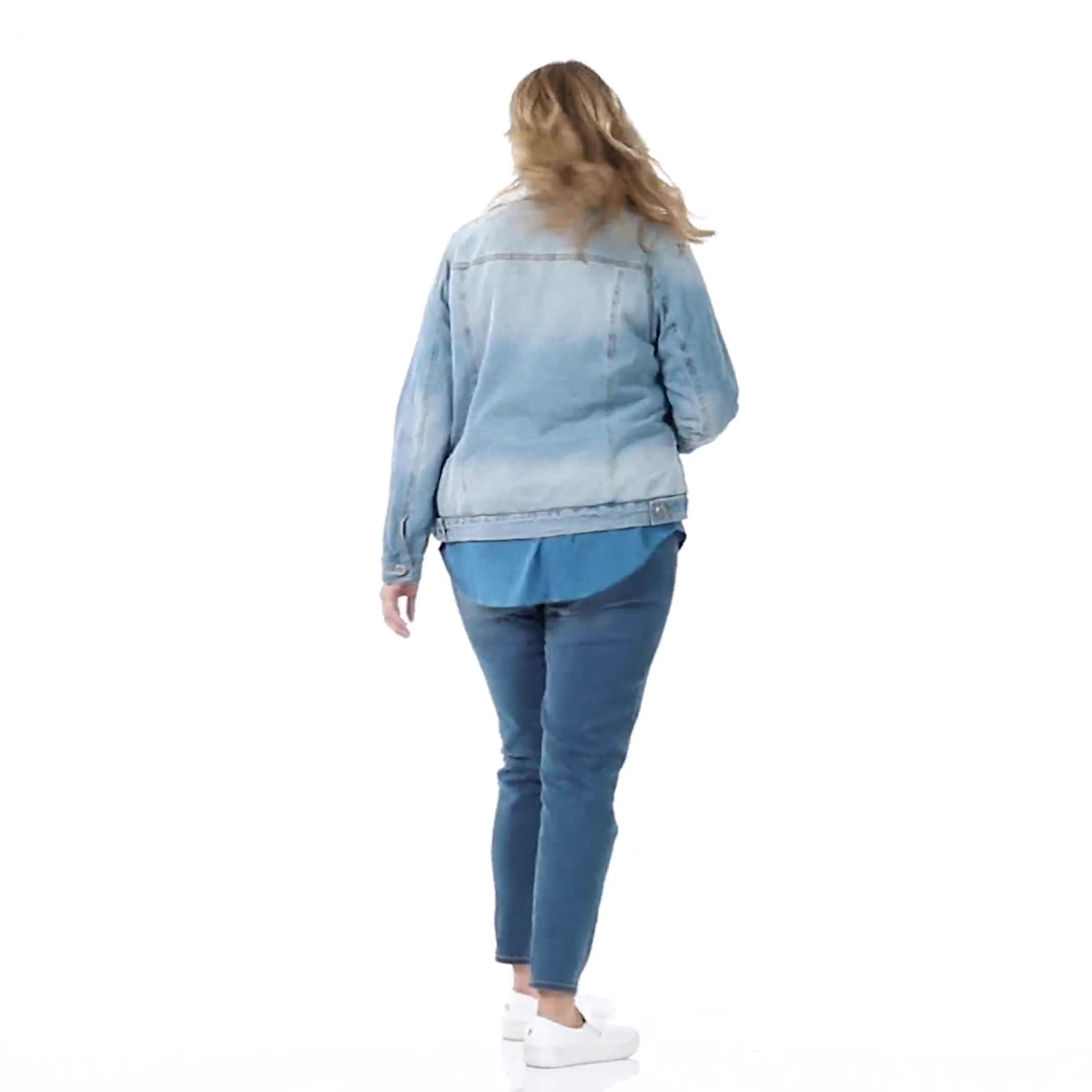 Denim Trucker Jacket with Sherpa Lining - Plus - Video
