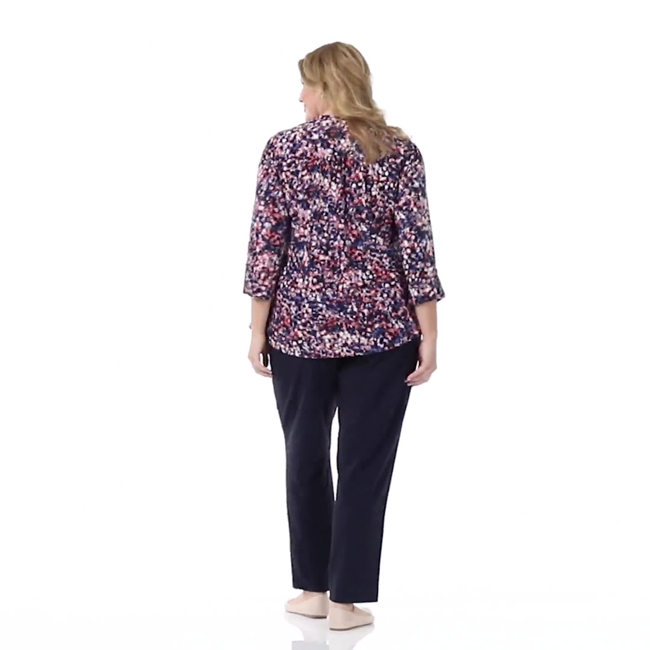 Roz & Ali Small Floral Pintuck Knit Popover - Plus - Video