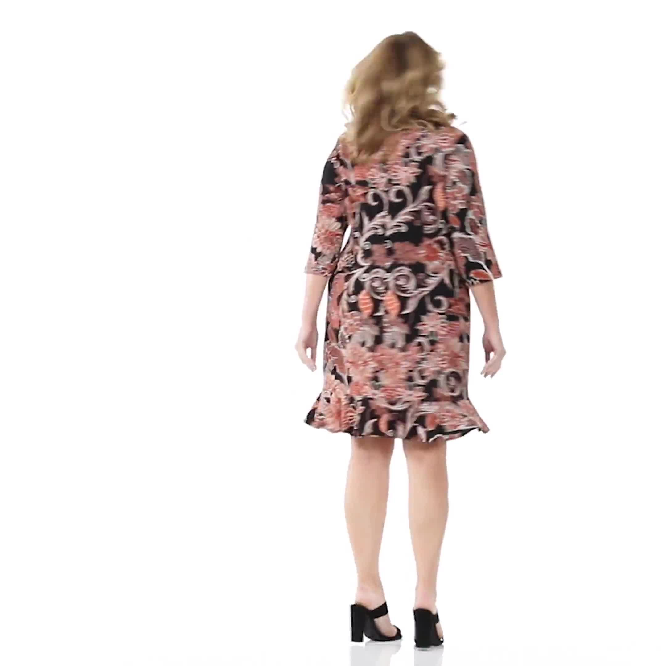 Scroll Floral Flounce Hem Dress - Plus - Video