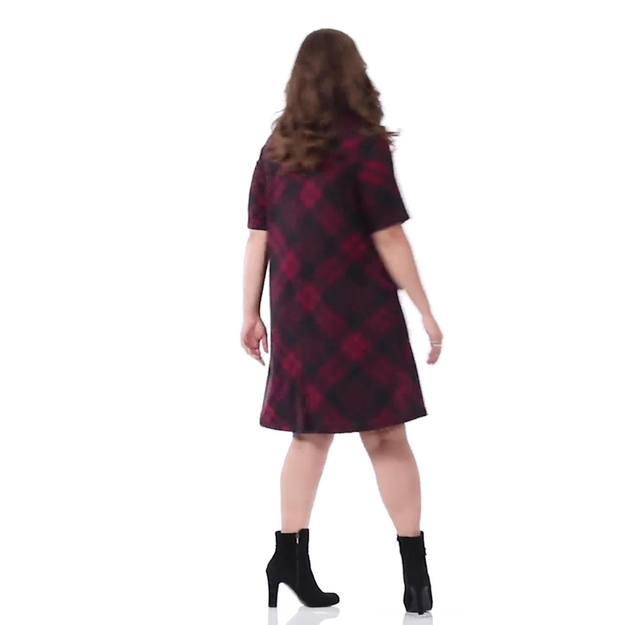 Plaid Cowl Neck Dress - Plus - Video