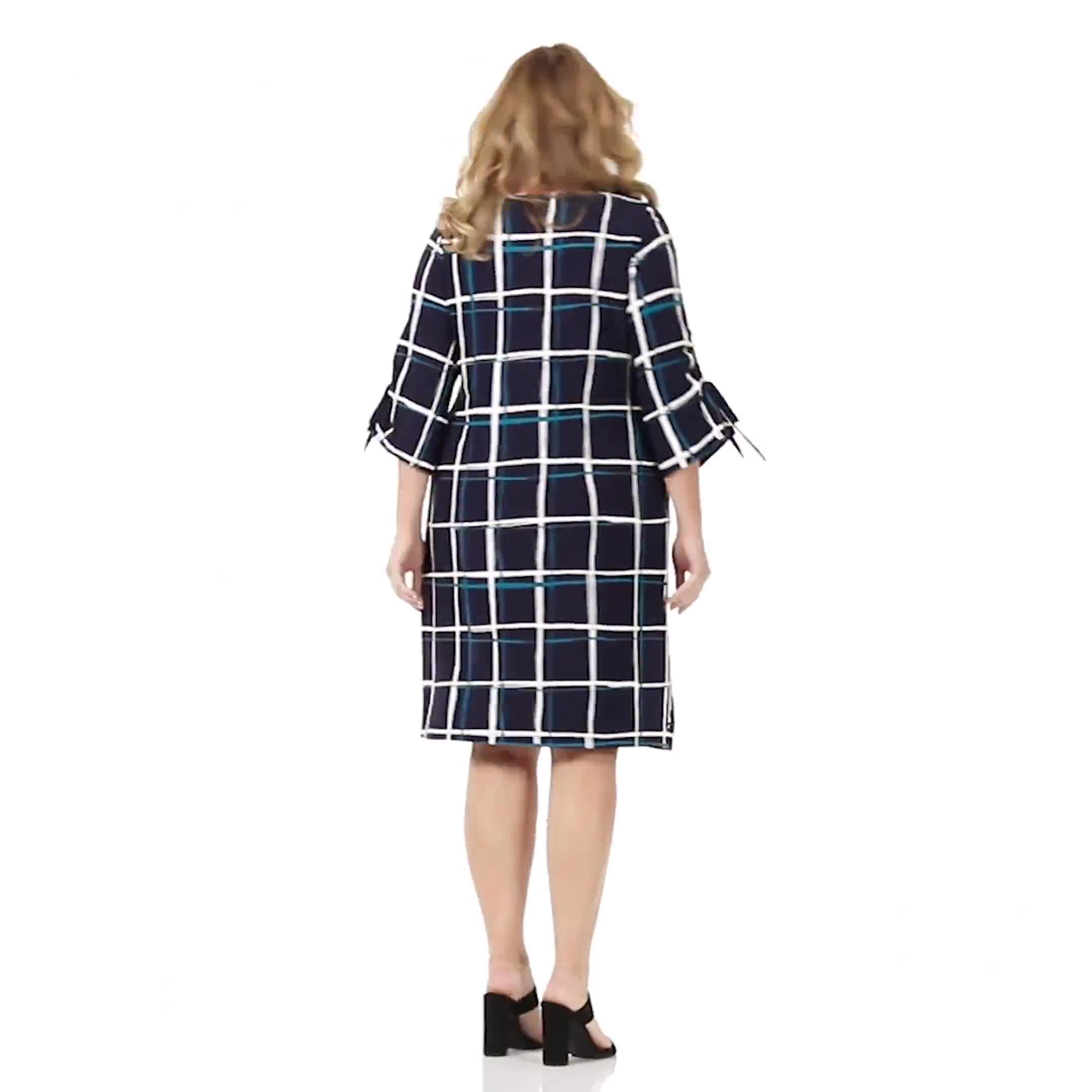 Grid Pattern Sheath Dress - Plus - Video