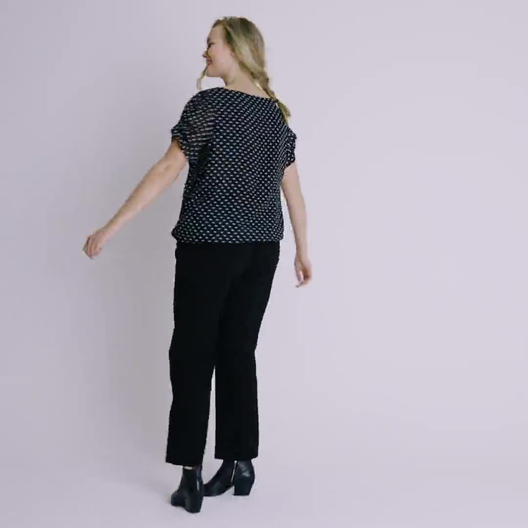 Roz & Ali Dot Bubble Hem Blouse - Video